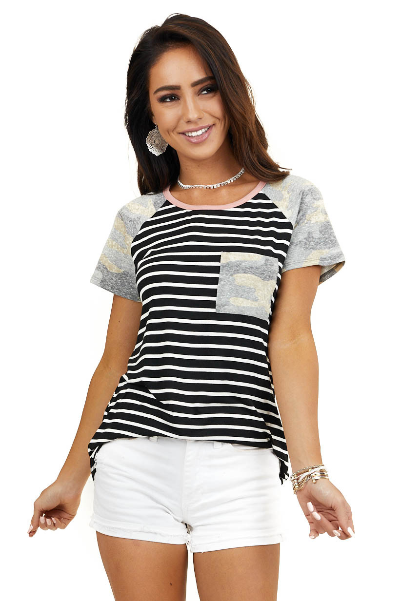 Black and White Striped Top with Camo Sleeves and Pocket