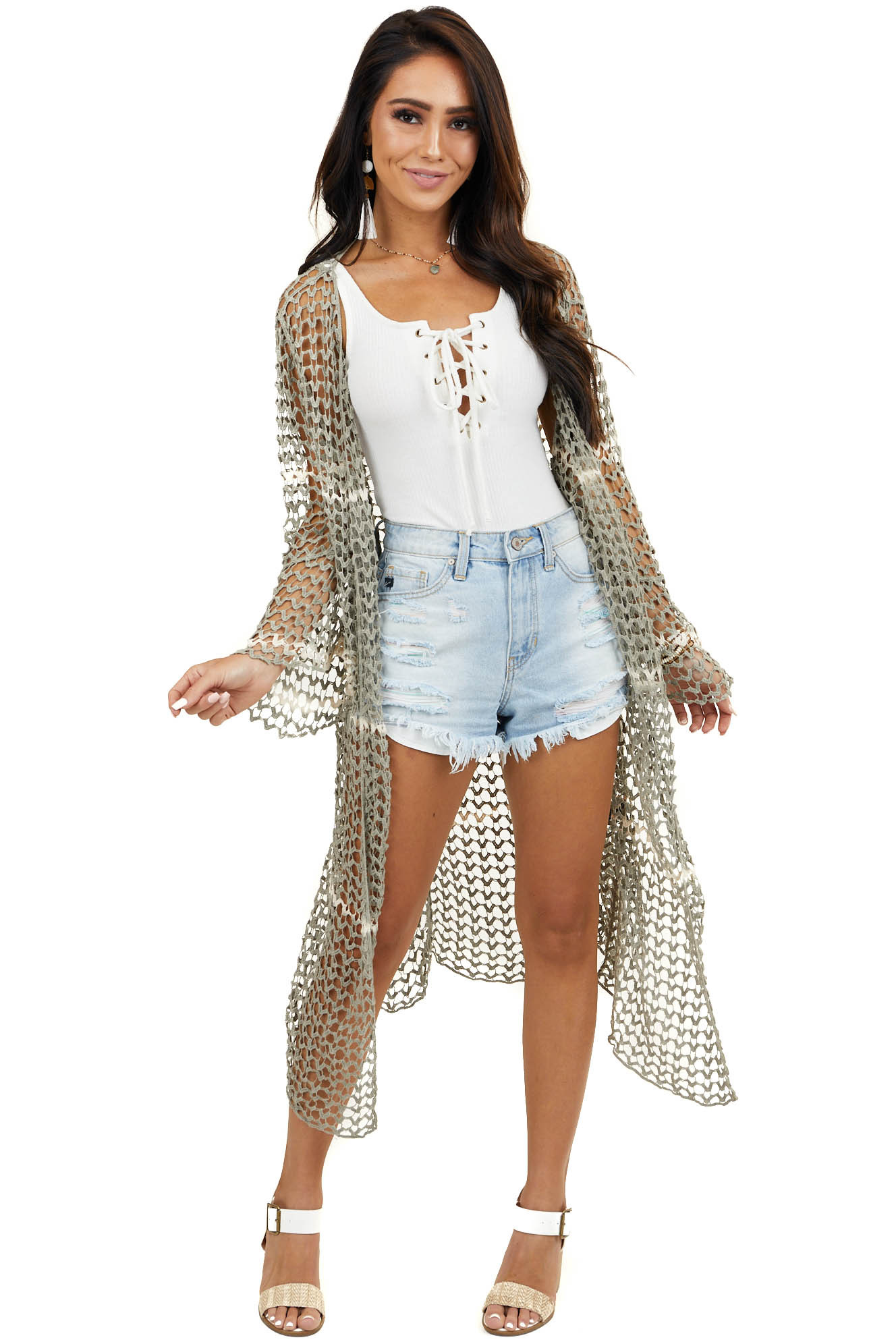 Ash Loose Crochet Knit Open Cardigan with Long Sleeves