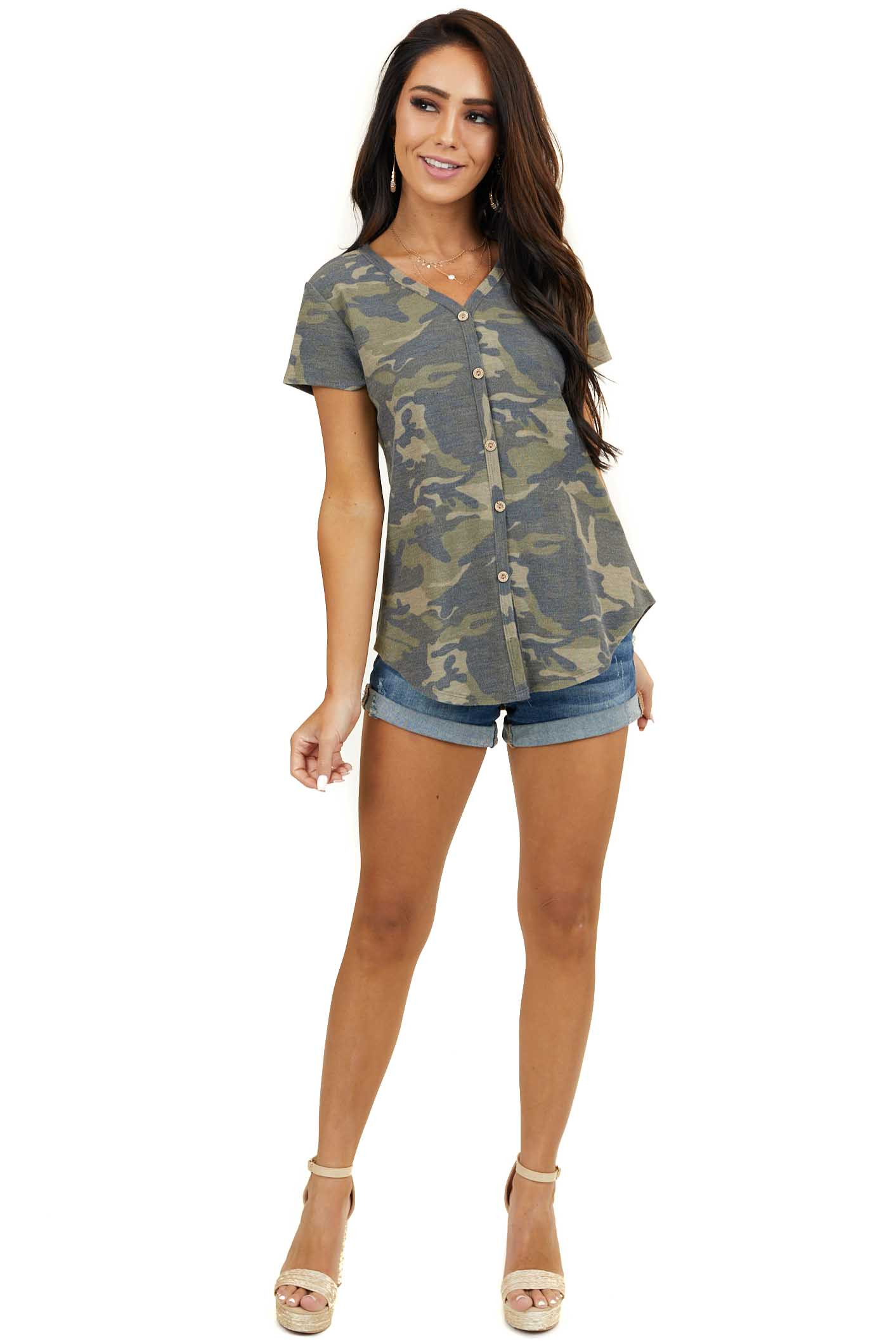 Olive Green Camo Print Short Sleeve Top with Button Up Front