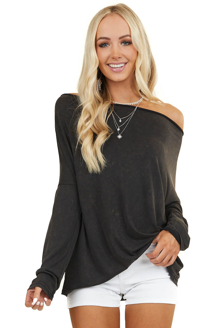 Black Mineral Wash Long Sleeve Knit Top with Cowl Neck