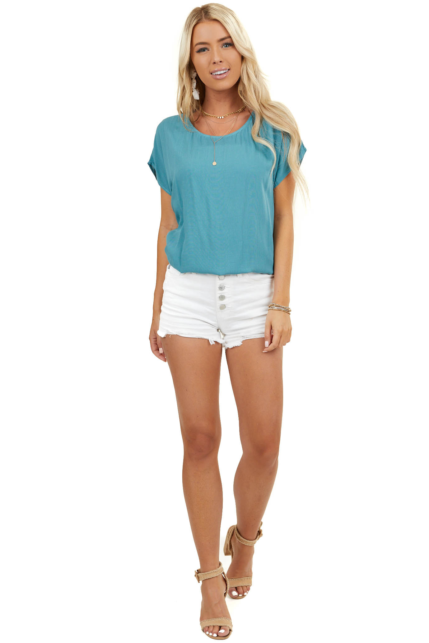 Pine Green Short Sleeve Woven Top with Button Up Back