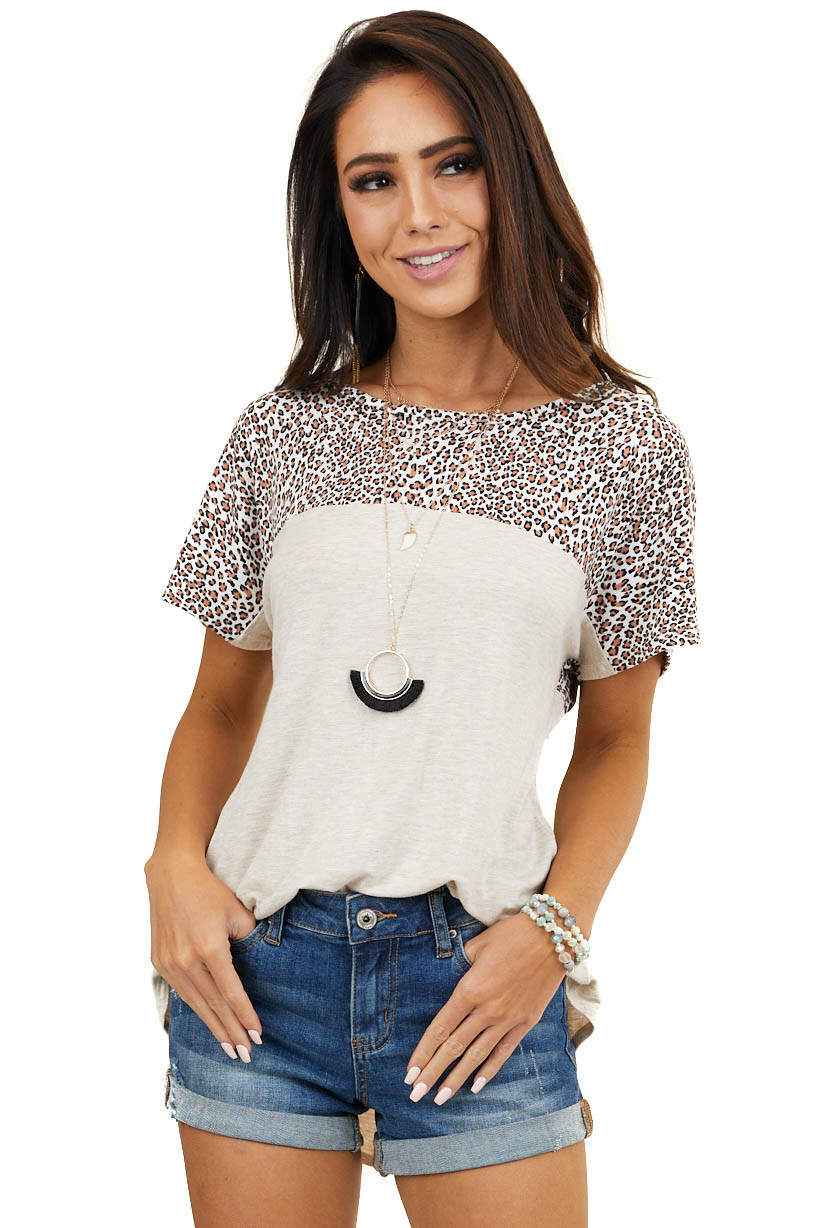 Taupe Leopard Print Knit Top with Criss Cross Back Detail