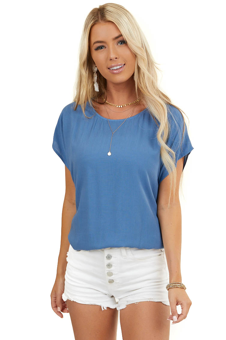 Dusty Blue Short Sleeve Woven Top with Button Up Back