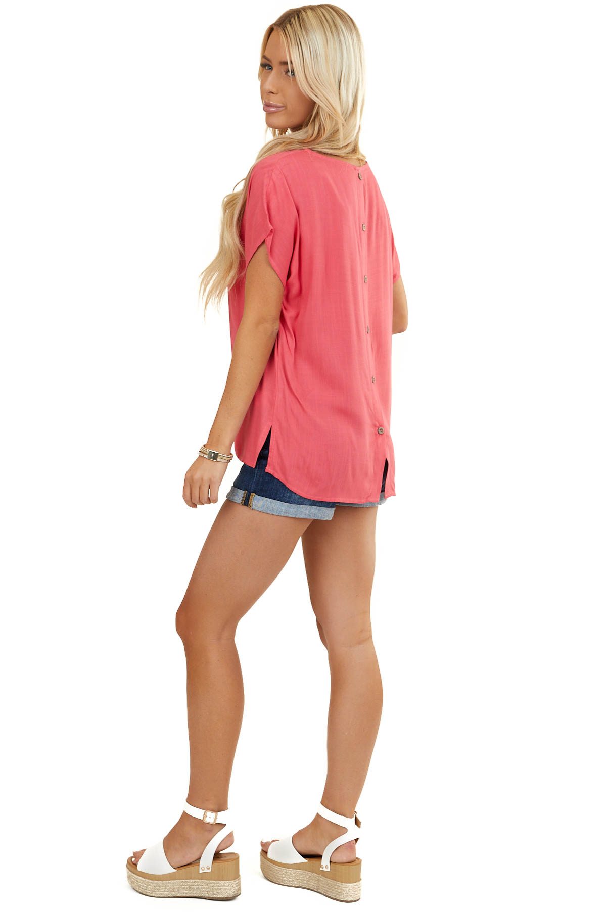 Dark Coral Short Sleeve Woven Top with Button Up Back