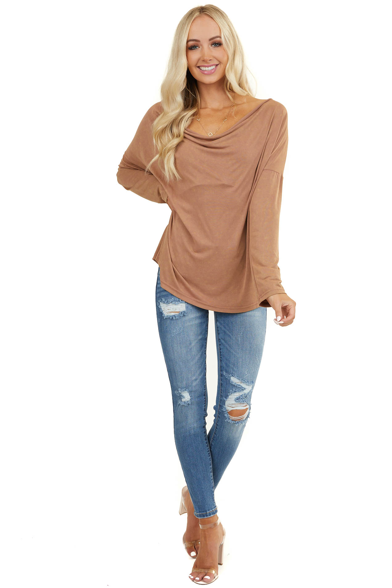 Dark Apricot Mineral Wash Long Sleeve Top with Cowl Neck