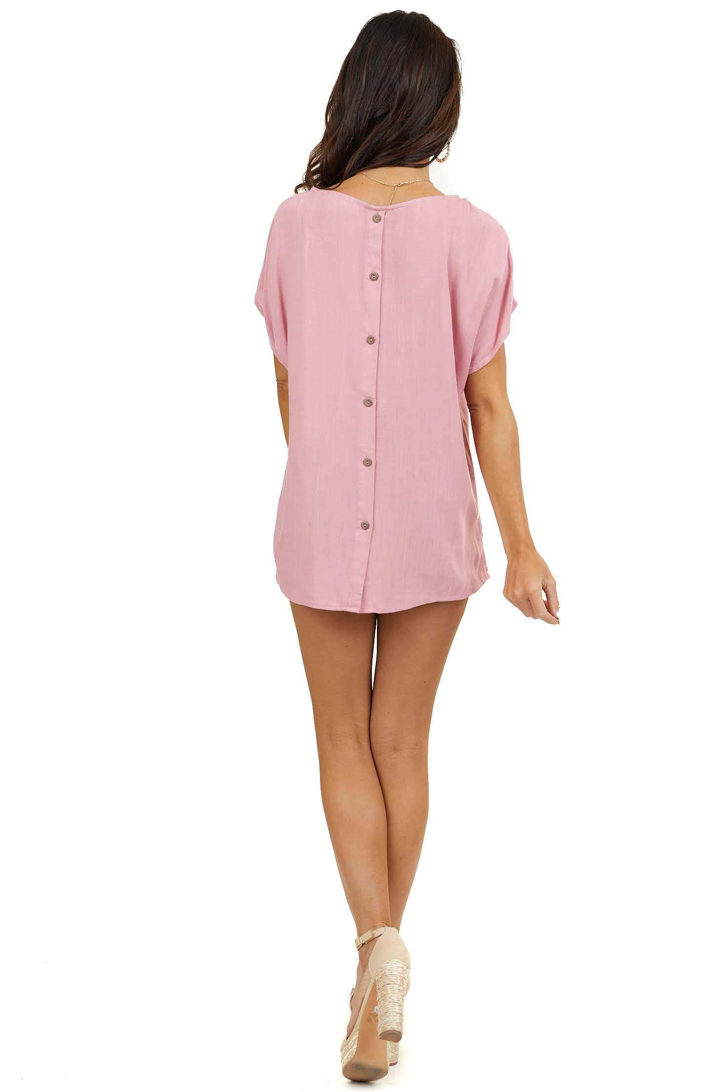 Dusty Blush Short Sleeve Woven Top with Button Up Back