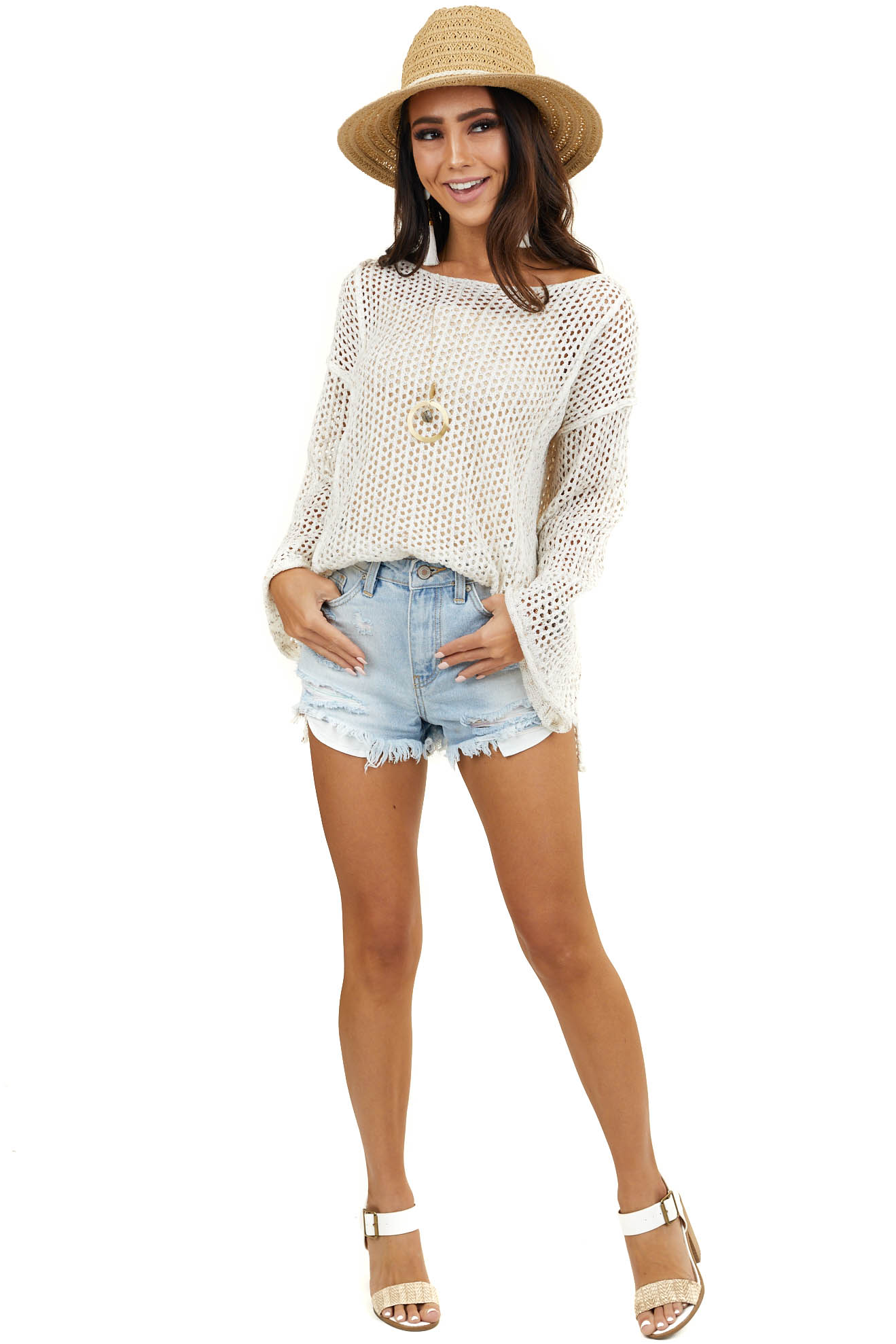 Cream Crochet Knit Lightweight Sweater with Long Sleeves