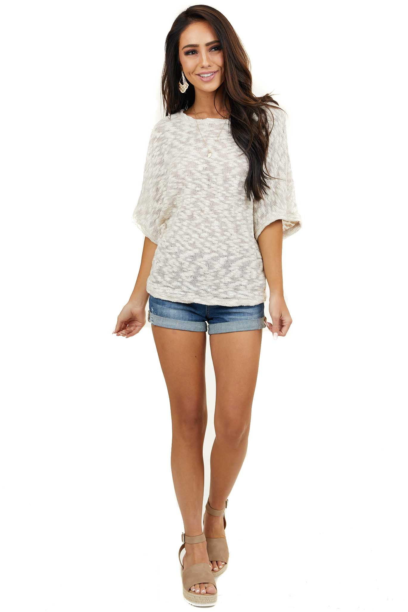 Beige Rounded Neckline Knit Top with Dolman Short Sleeves
