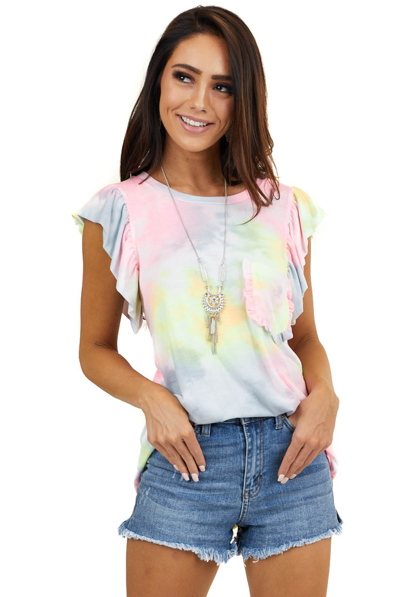 Multicolored Tie Dye Ruffle Short Sleeve Top with Pocket