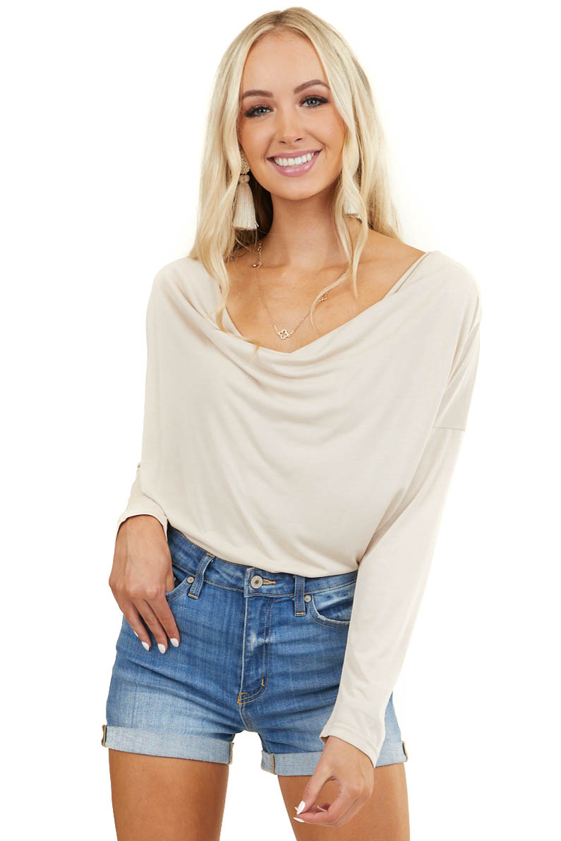 Desert Sand Long Sleeve Knit Top with Cowl Neck