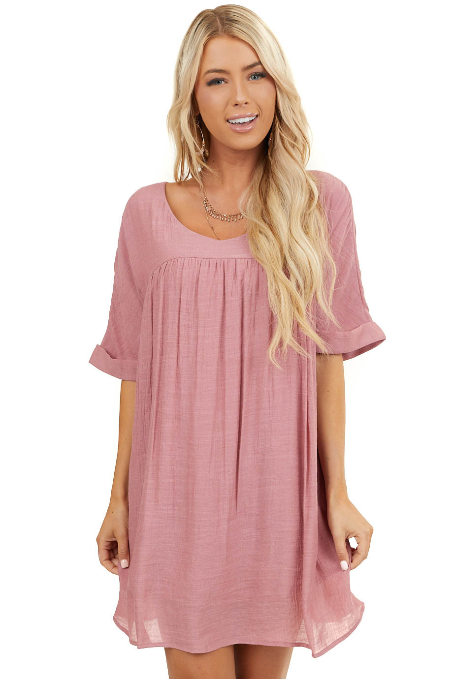 Dusty Blush V Neck Mini Dress with Short Cuffed Sleeves