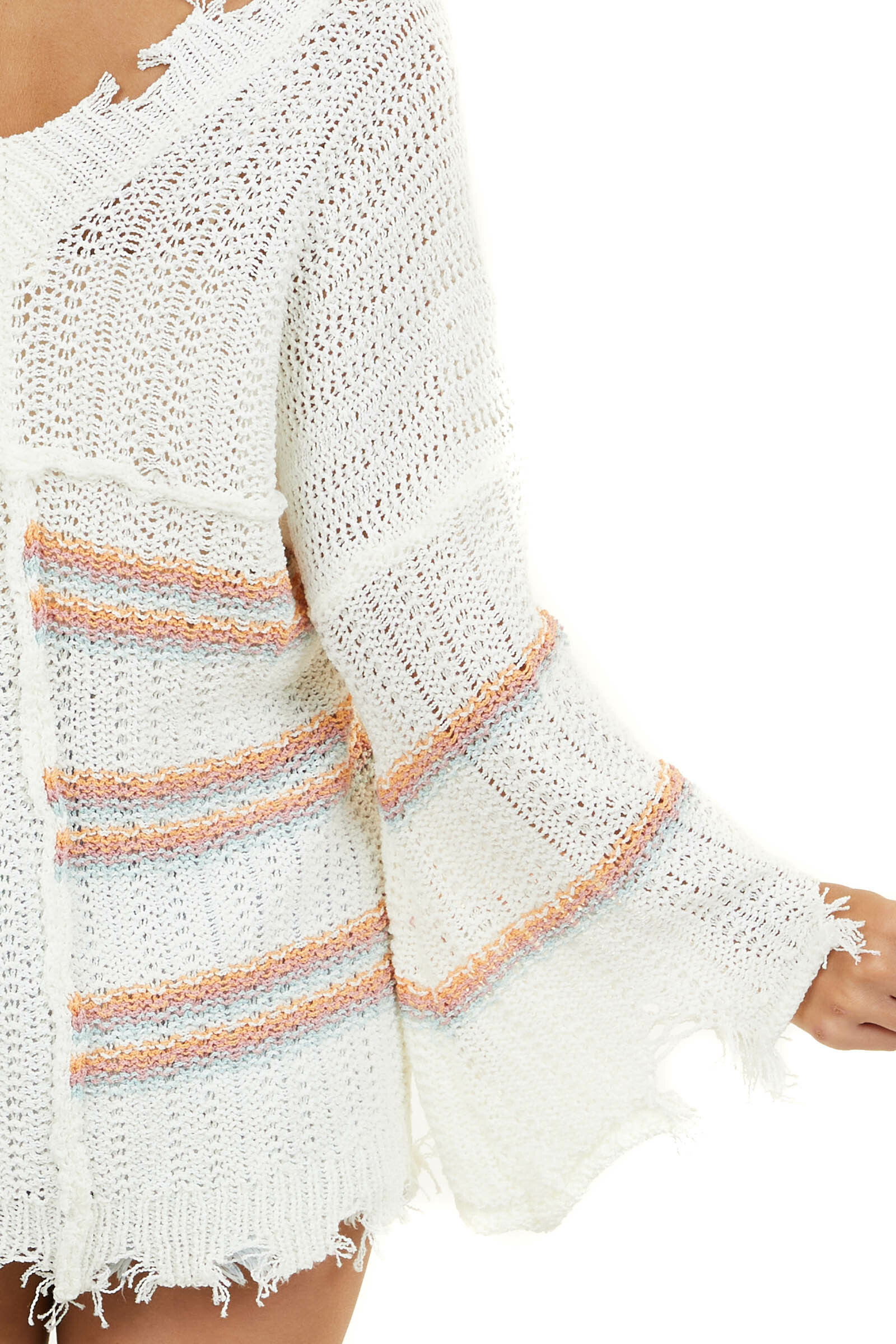 Ivory Striped Sweater with Flared Sleeves and Frayed Details
