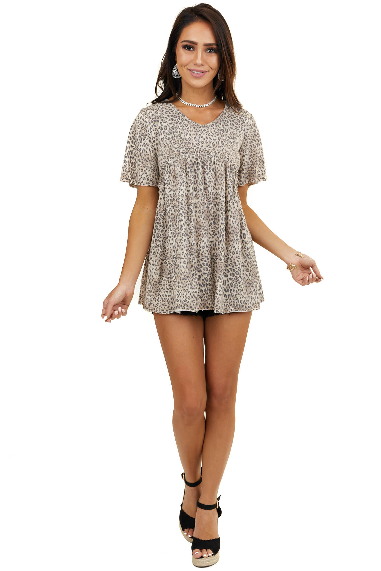 Latte Leopard Babydoll Short Sleeve Top with Ruffle Detail