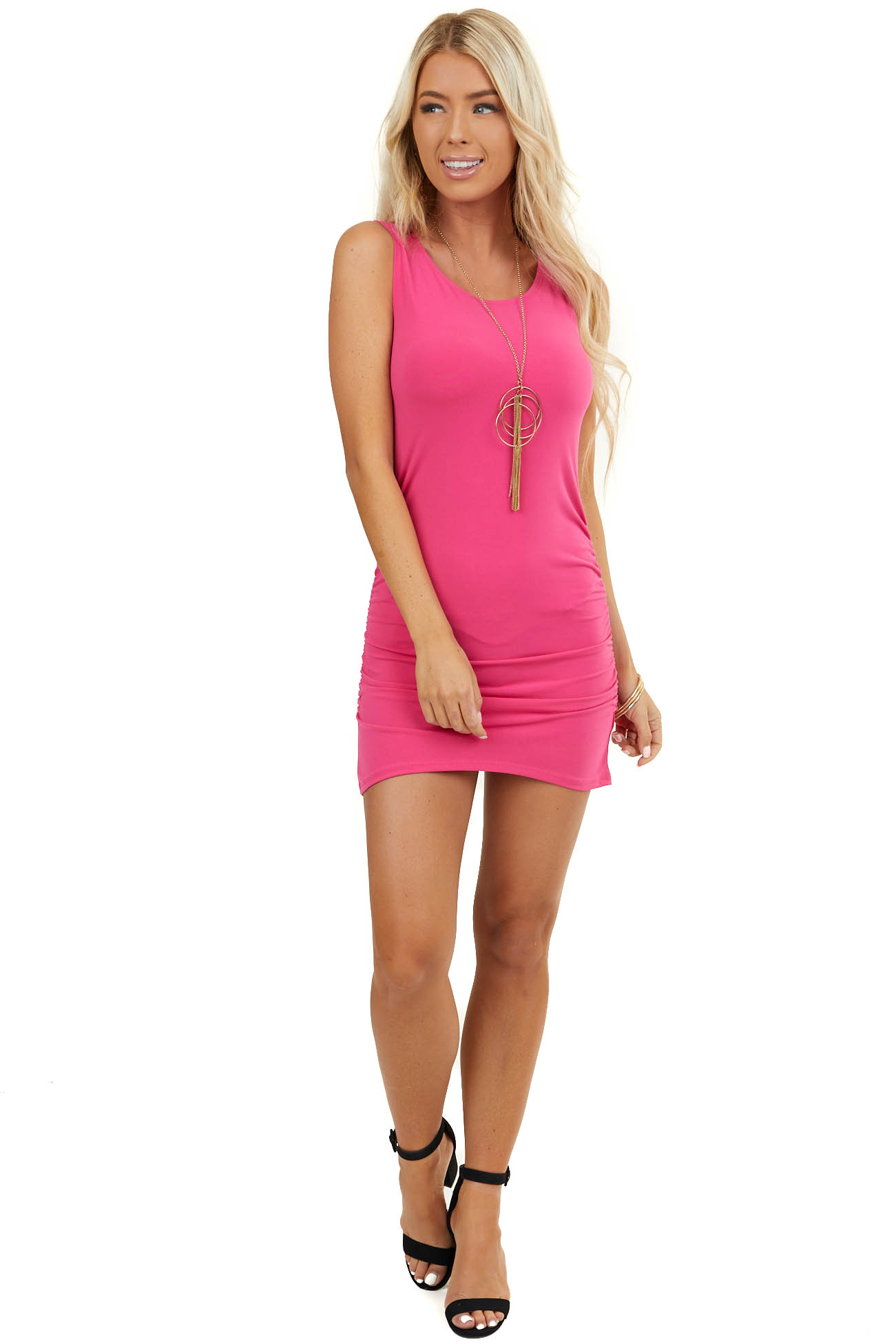Hot Pink Sleeveless Mini Dress with Side Ruching Detail