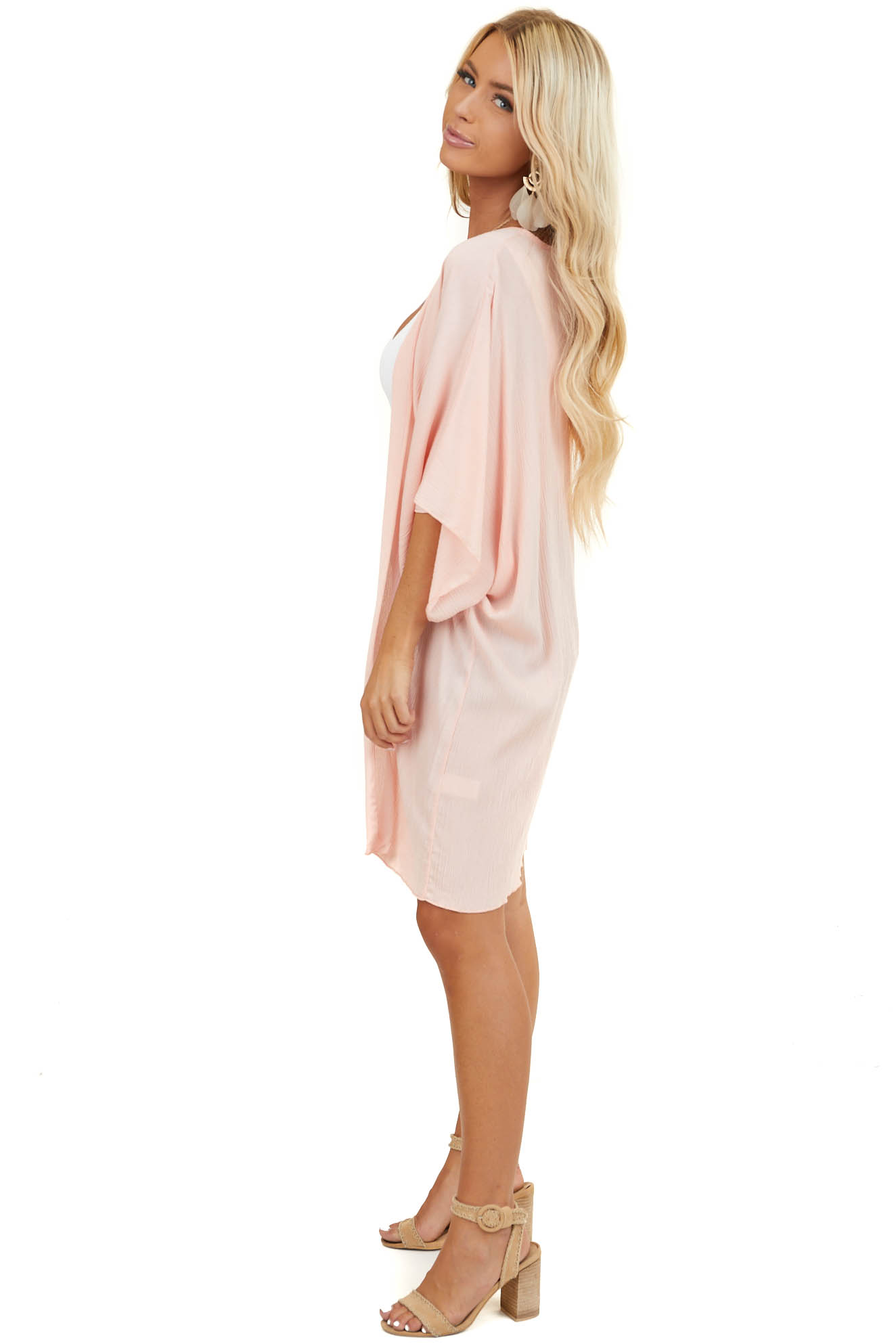 Blush Open Front Cardigan with 3/4 Length Dolman Sleeves