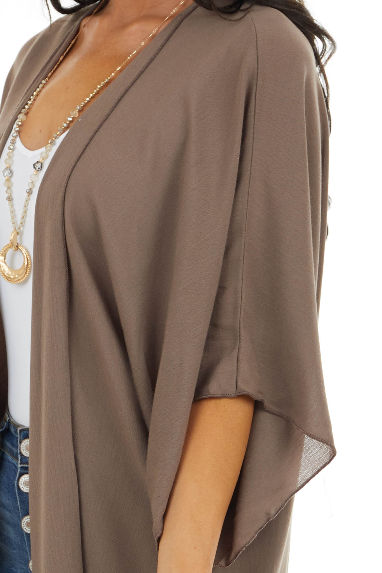 Mocha Open Front Cardigan with 3/4 Length Dolman Sleeves