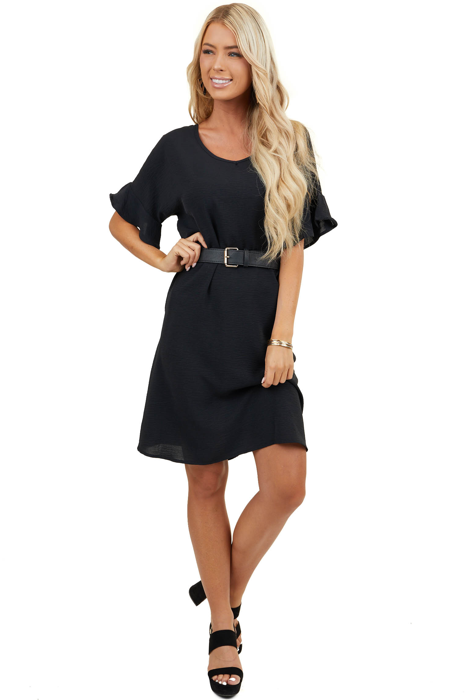 Black Short Woven Dress with V Neck and Short Ruffle Sleeves