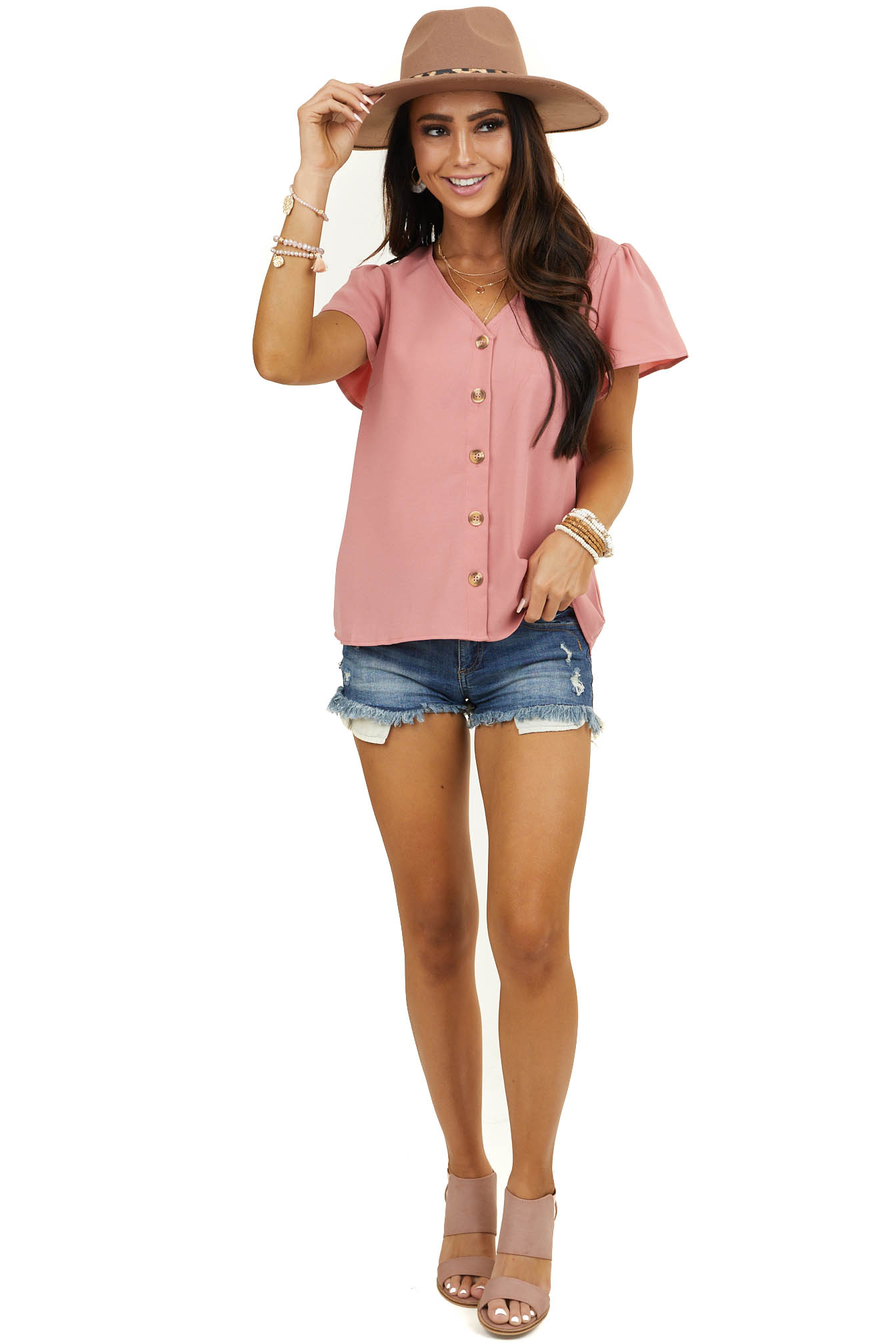 Faded Coral Short Sleeve Blouse with Front Button Detail