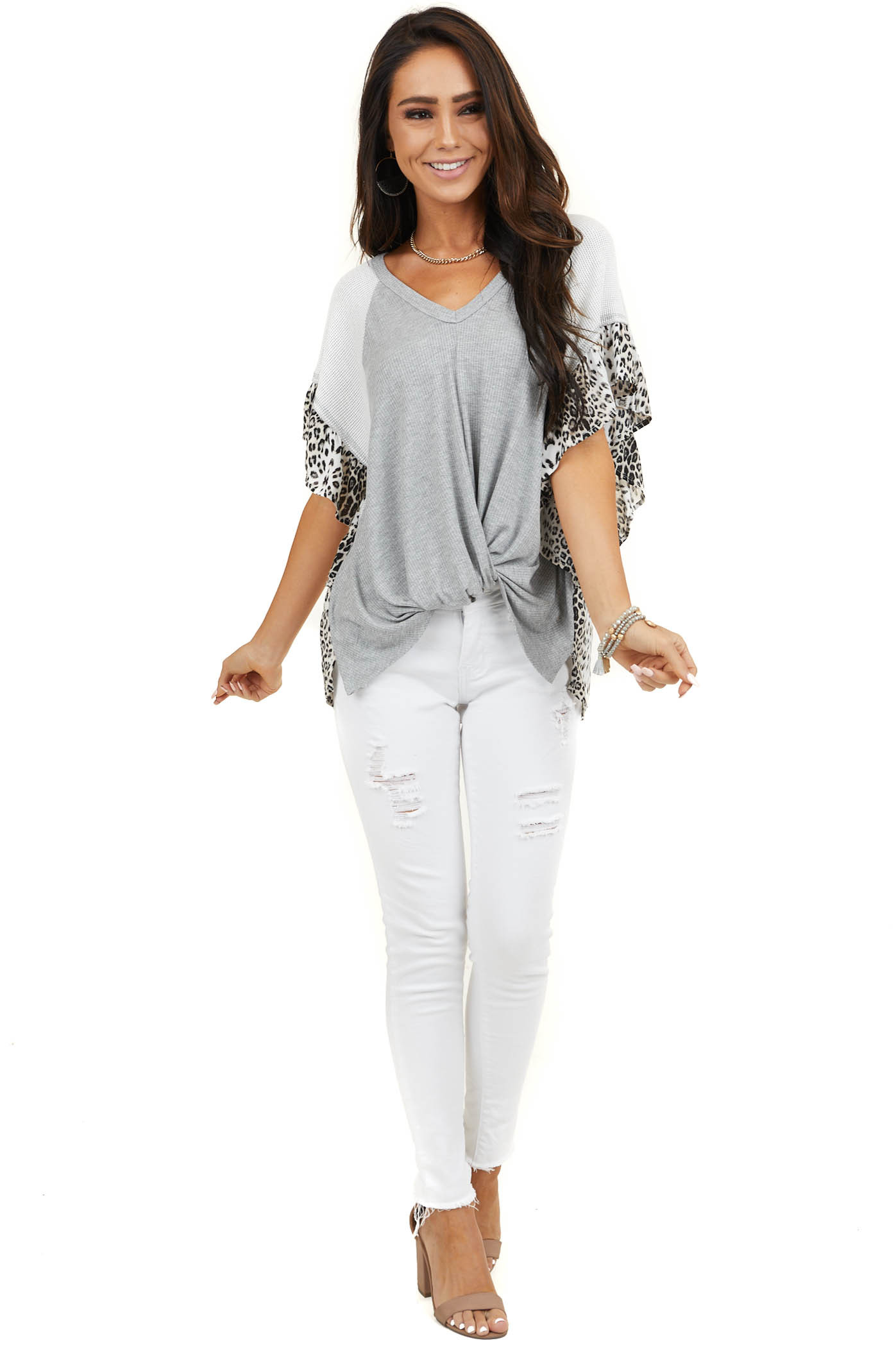 Heather Grey Top with Waffle Knit and Leopard Print Contrast