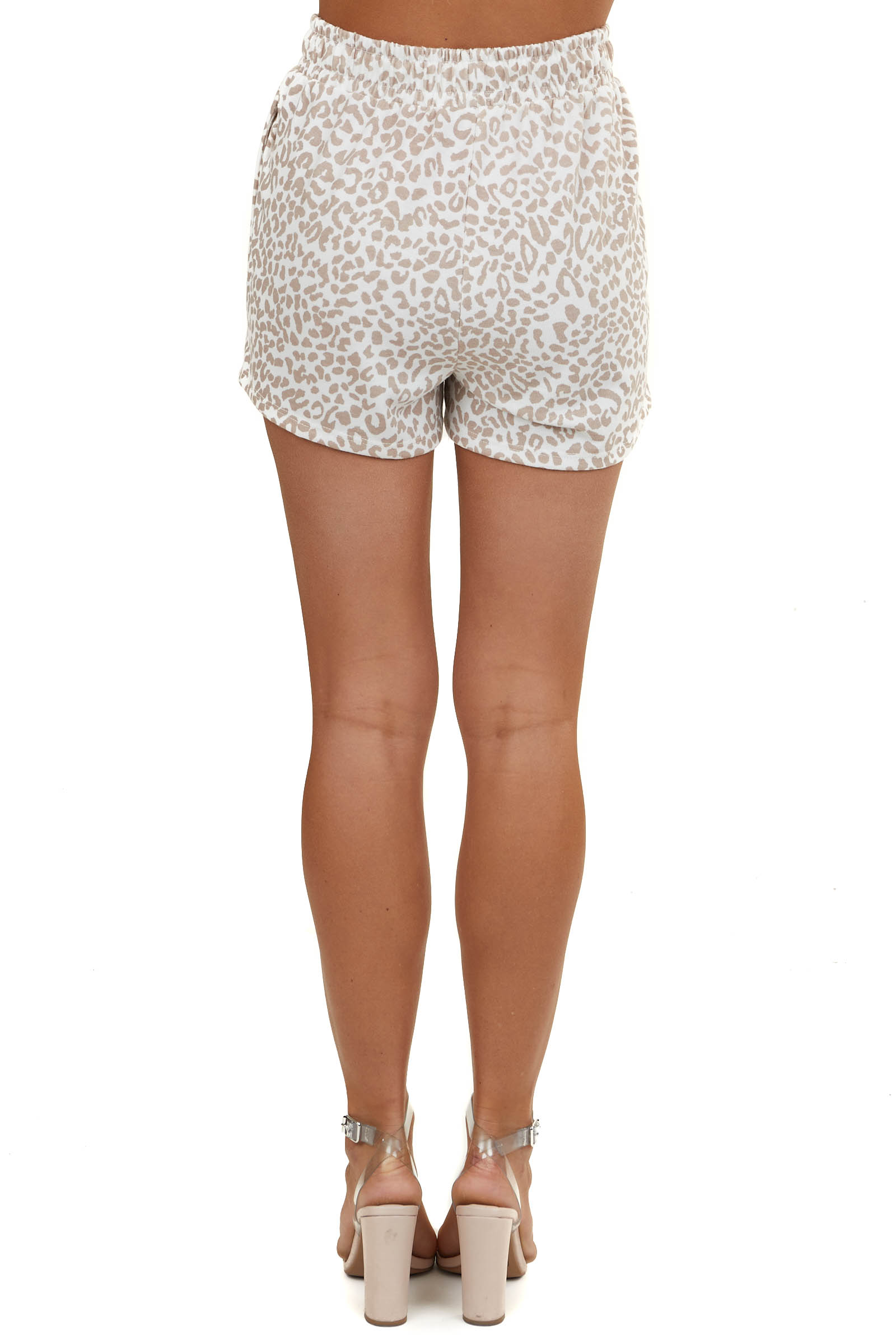 Off White Leopard Print Soft Knit Shorts with Side Pockets