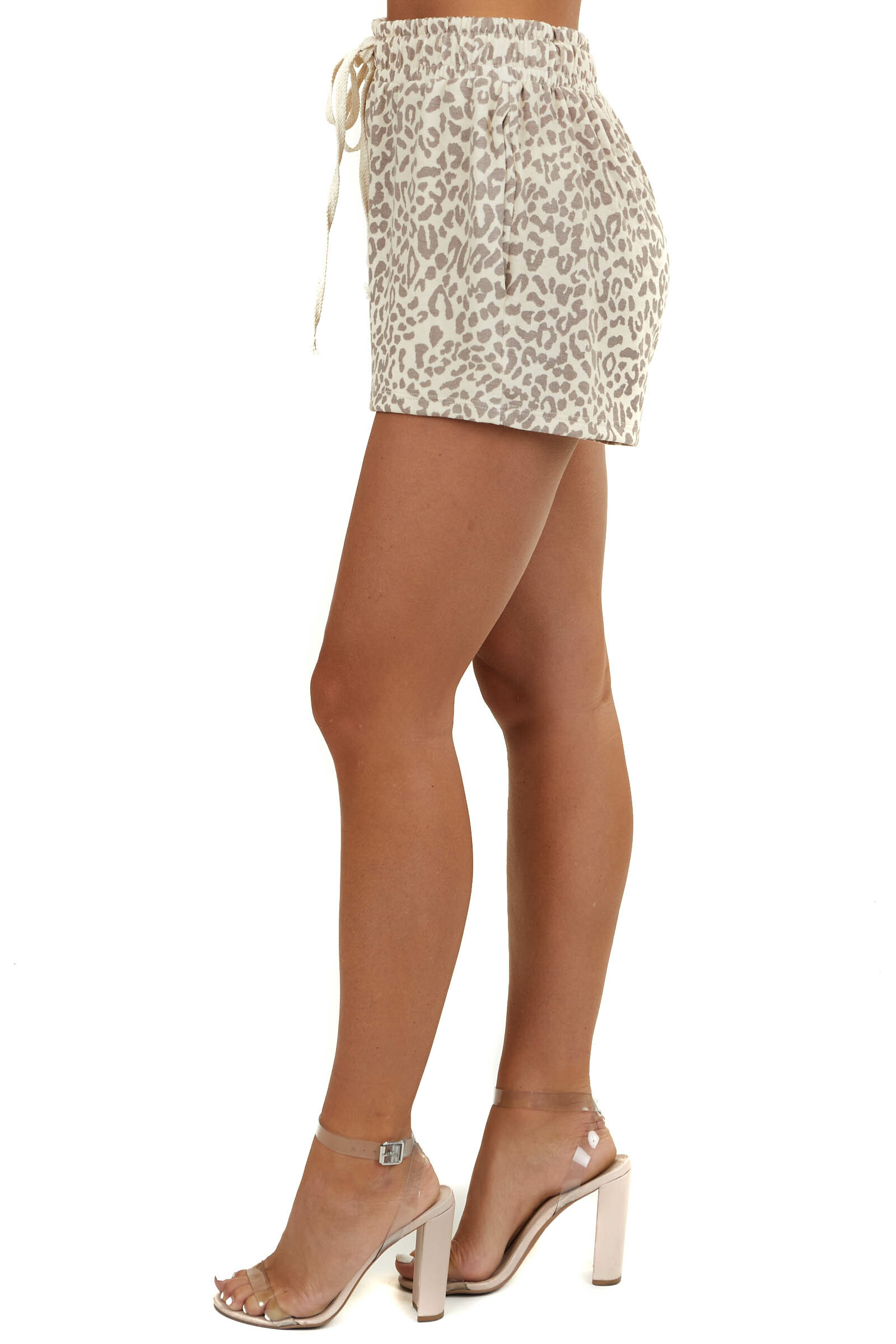 Beige Leopard Print Soft Knit Shorts with Side Pockets