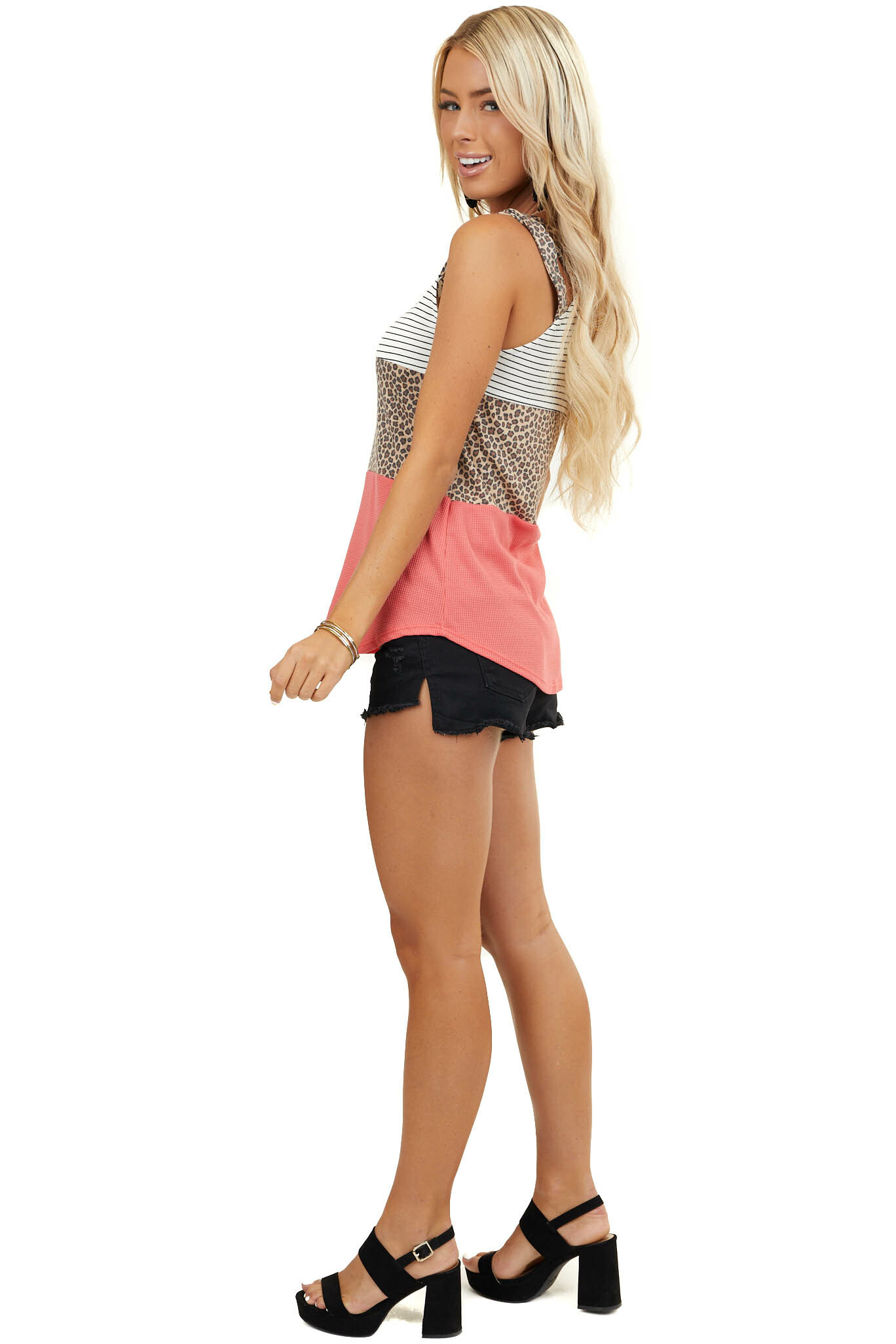 Coral and Taupe Multiprint ColorBlock Strappy Knit Tank Top