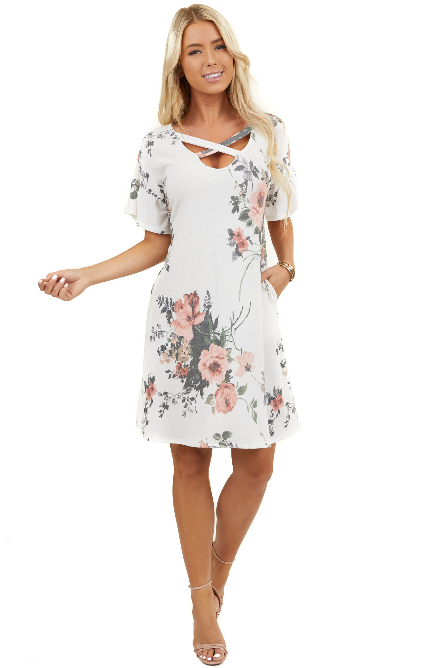 Ivory Floral Criss Cross Neckline Dress with Ruffled Sleeves