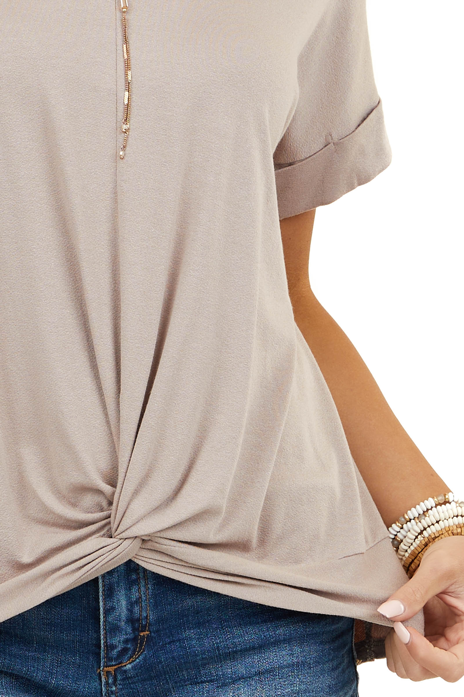 Latte Knit Top with Twist Detail and Short Cuffed Sleeves