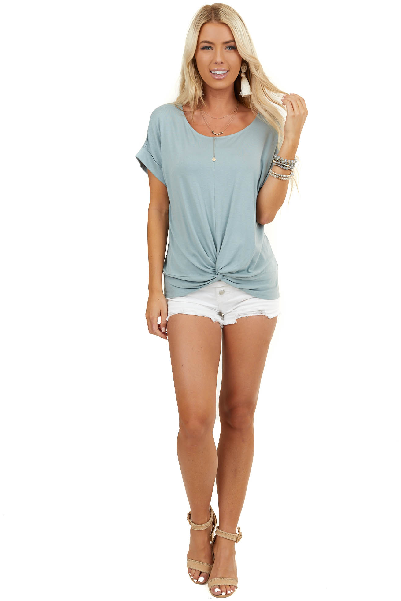 Sage Knit Top with Twist Detail and Short Cuffed Sleeves
