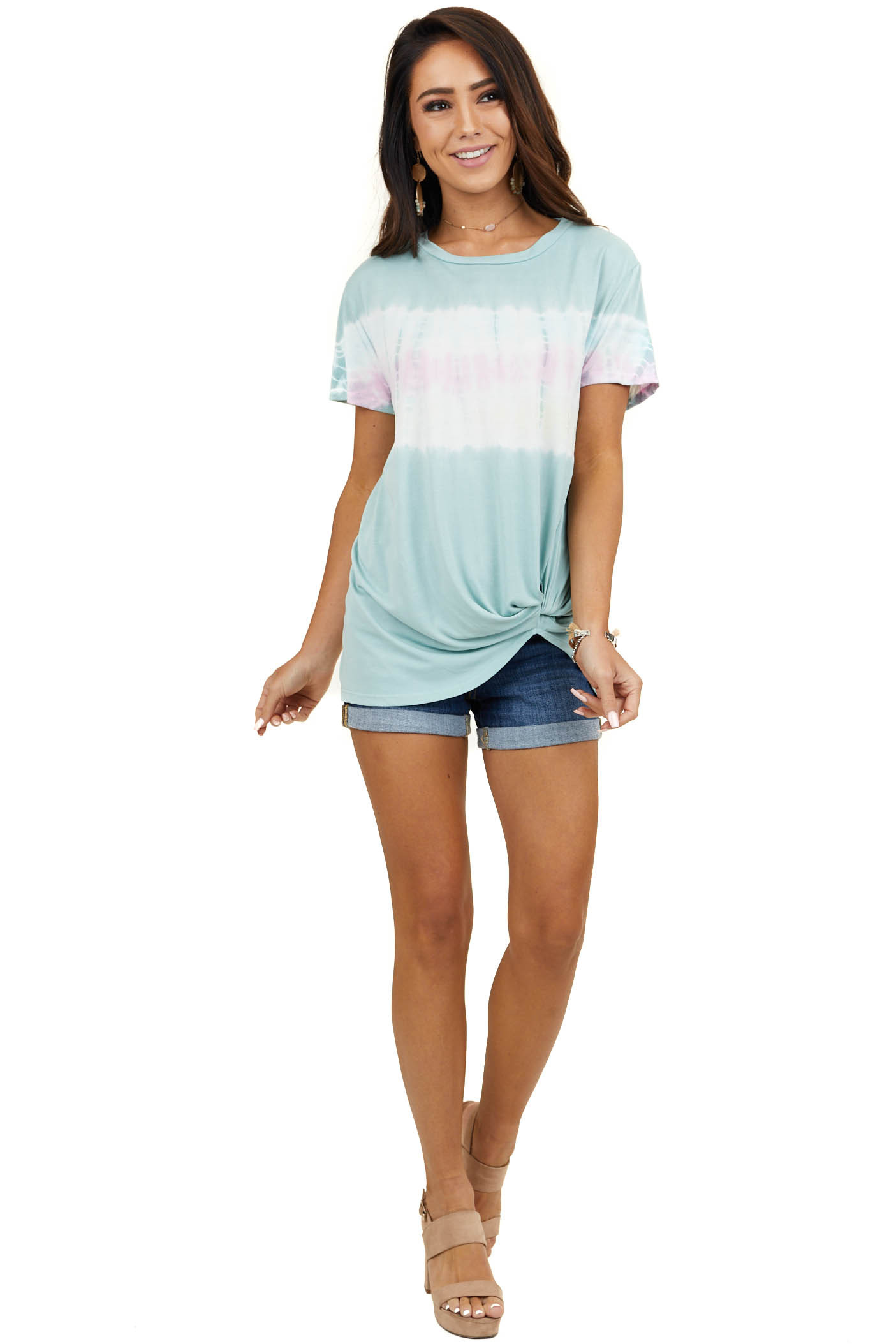 Seafoam Tie Dye Short Sleeve Knit Top with Twisted Detail