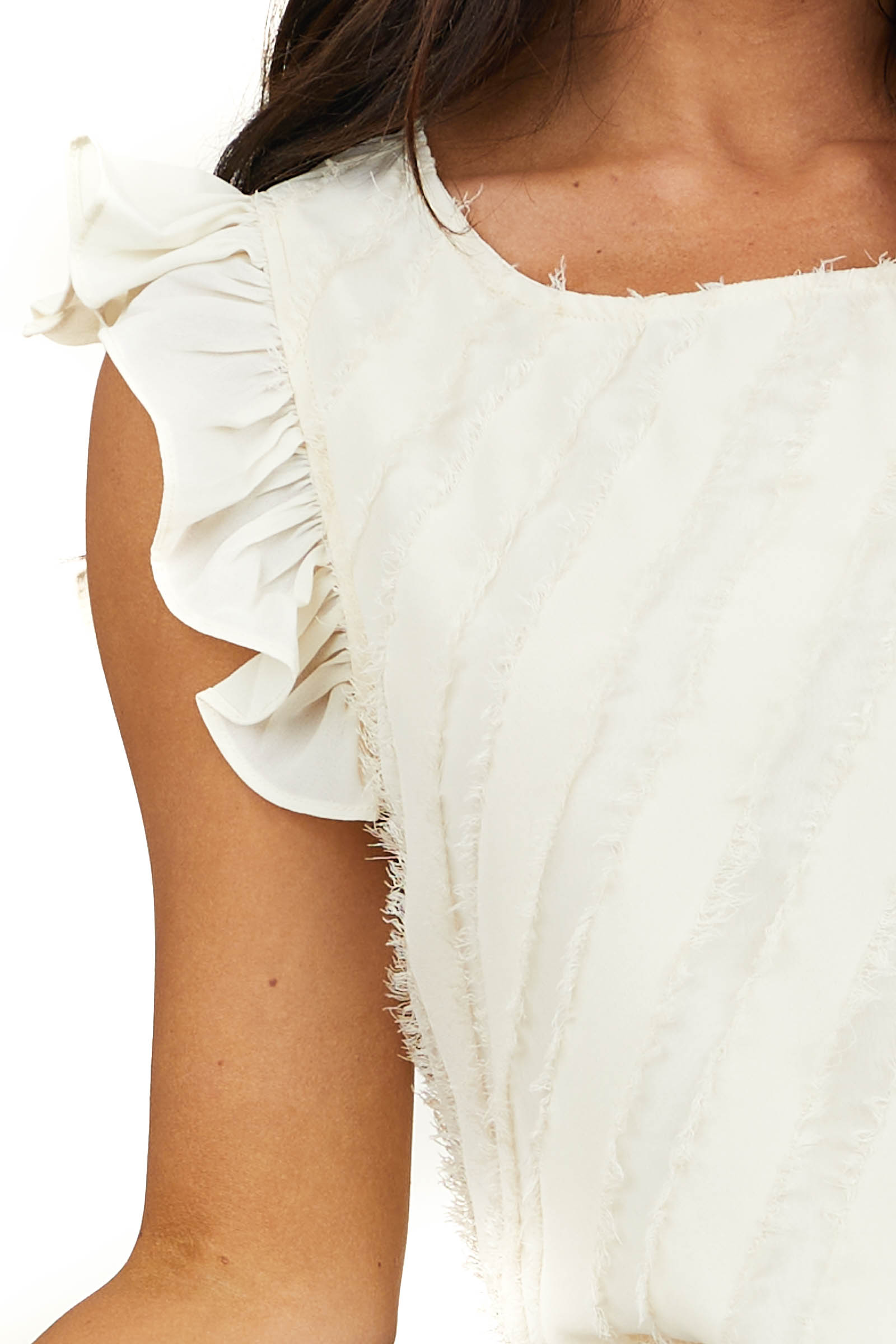 Champagne Ruffle Short Sleeve Woven Top with Fringe Details
