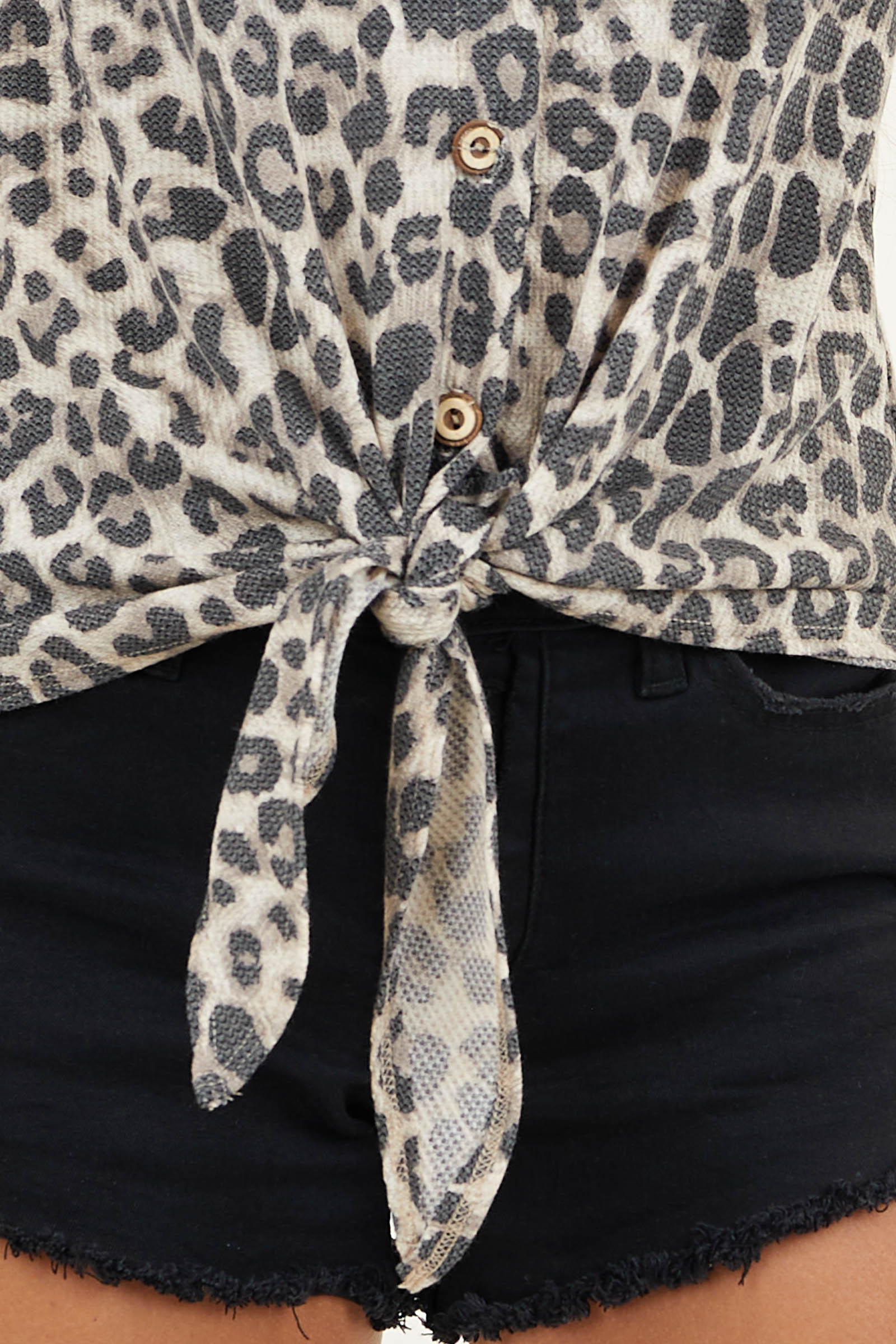 Beige Leopard Print Tank Top with Buttons and Front Tie