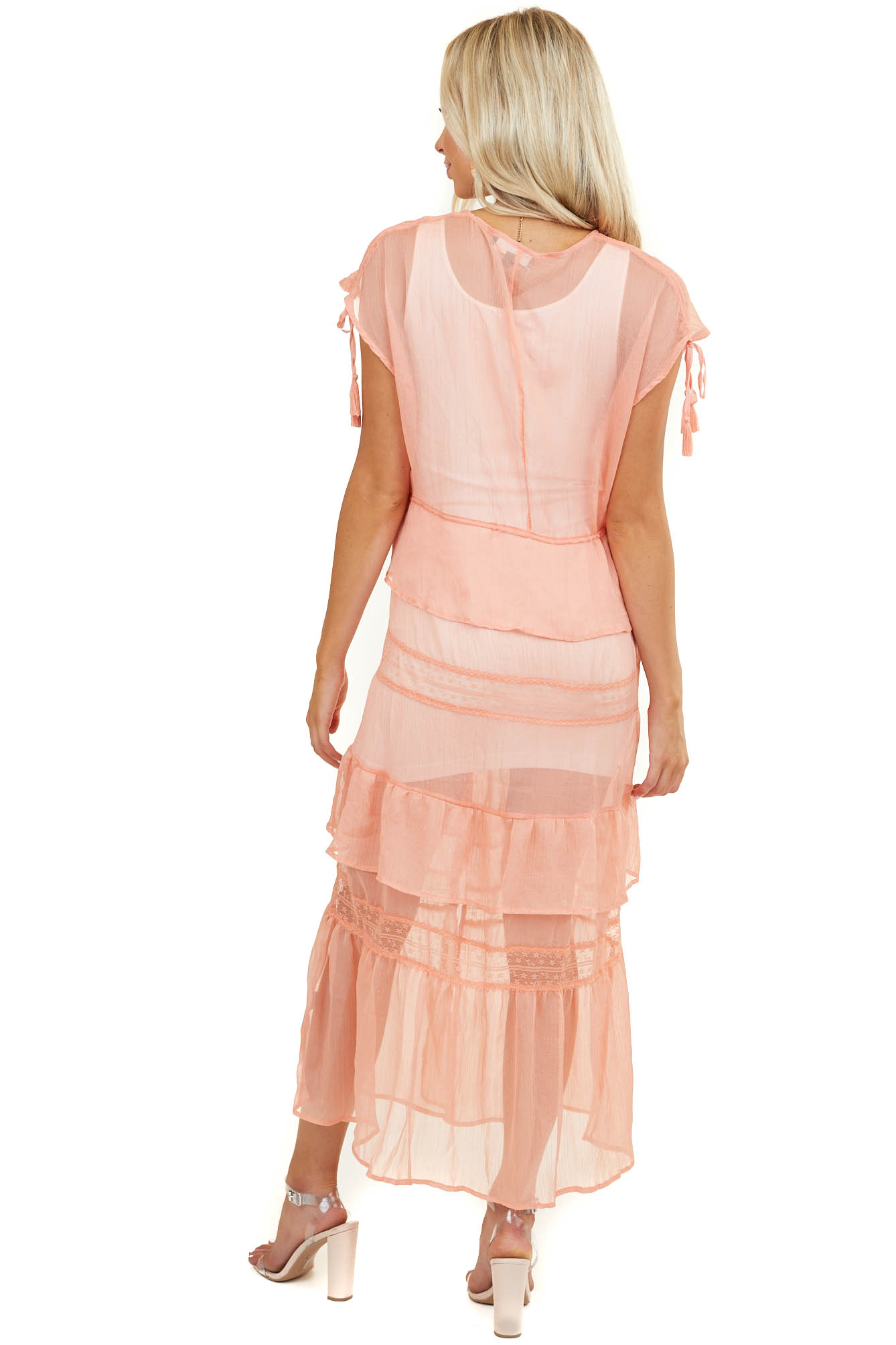 Salmon Ruffled Kimono Vest with Lace Details and Waist Tie