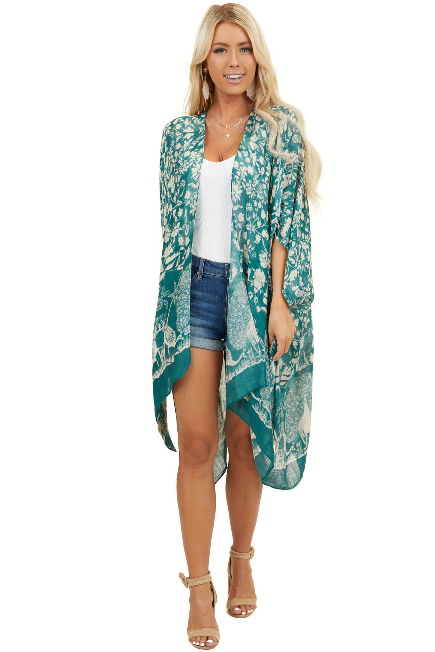 Pine Green Peacock and Floral Print Kimono with Side Slits