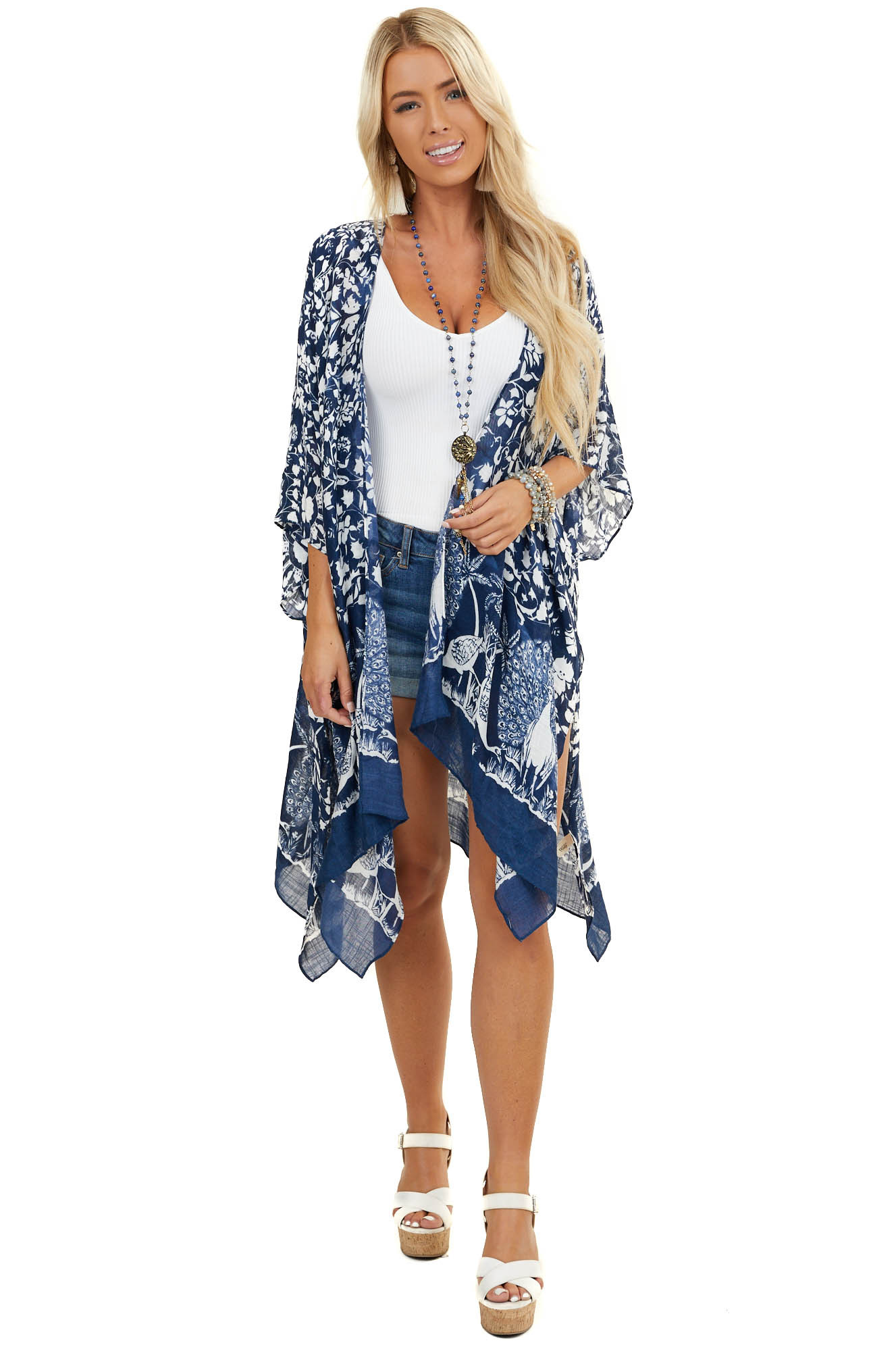 Navy Blue Peacock and Floral Print Kimono with Side Slits