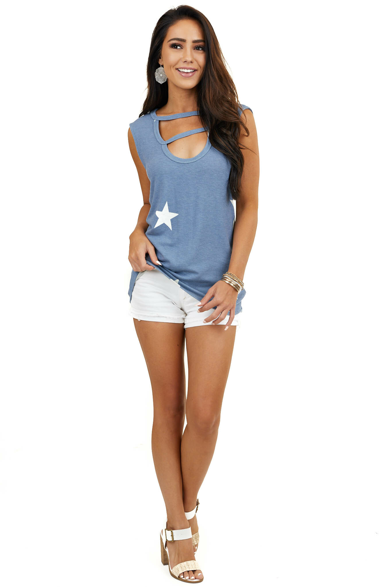 Blue Star Print Sleeveless Top with Front Cutout Detail
