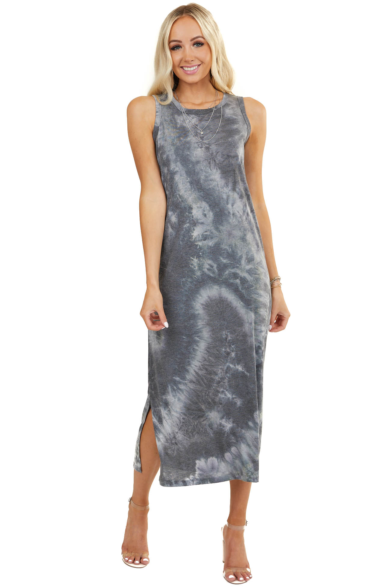 Charcoal Tie Dye Sleeveless Knit Dress with Side Slits