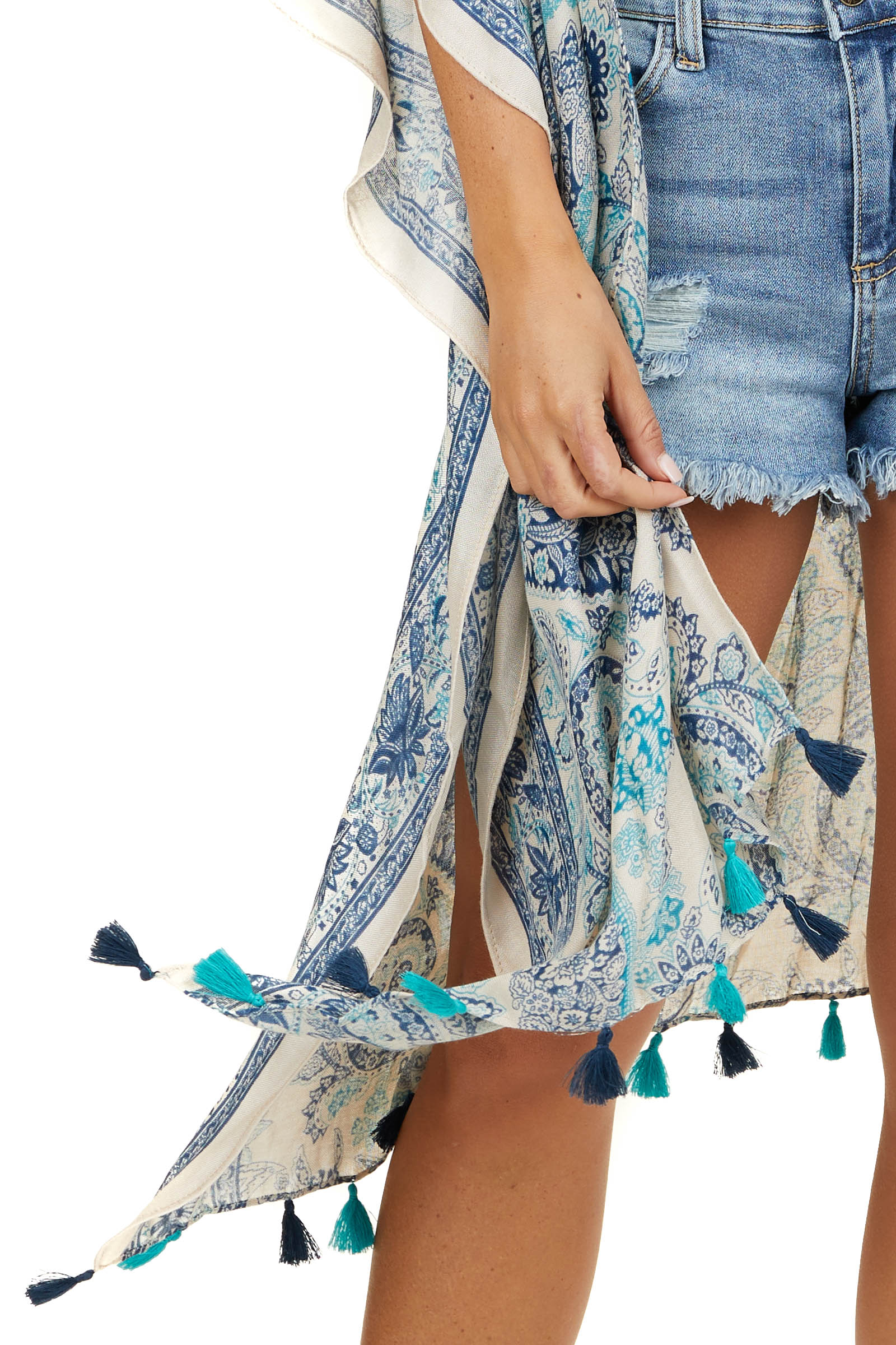 Navy and Teal Paisley Print Kimono with Tassel Details
