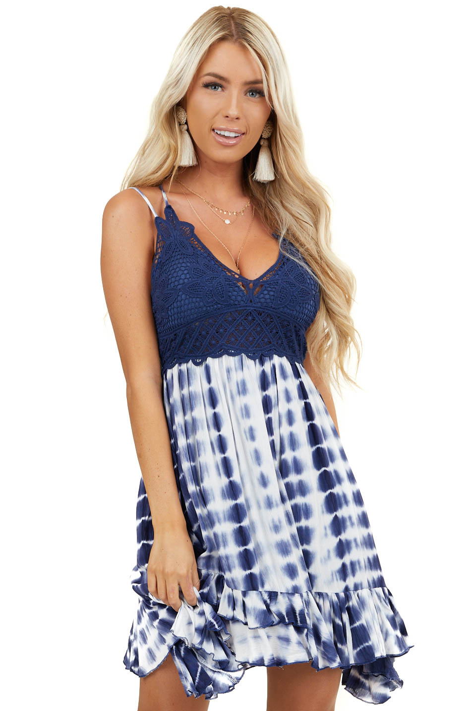 Navy and White Tie Dye Dress with Crochet Lace Bust