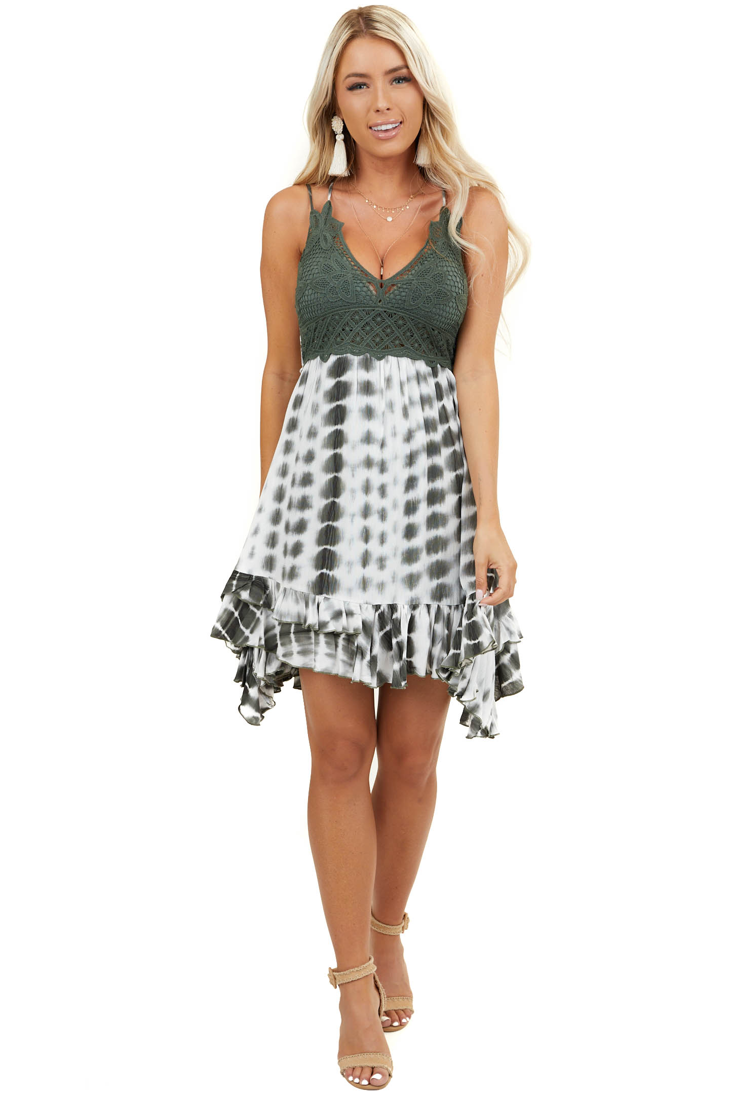 Hunter Green and White Tie Dye Dress with Crochet Lace Bust