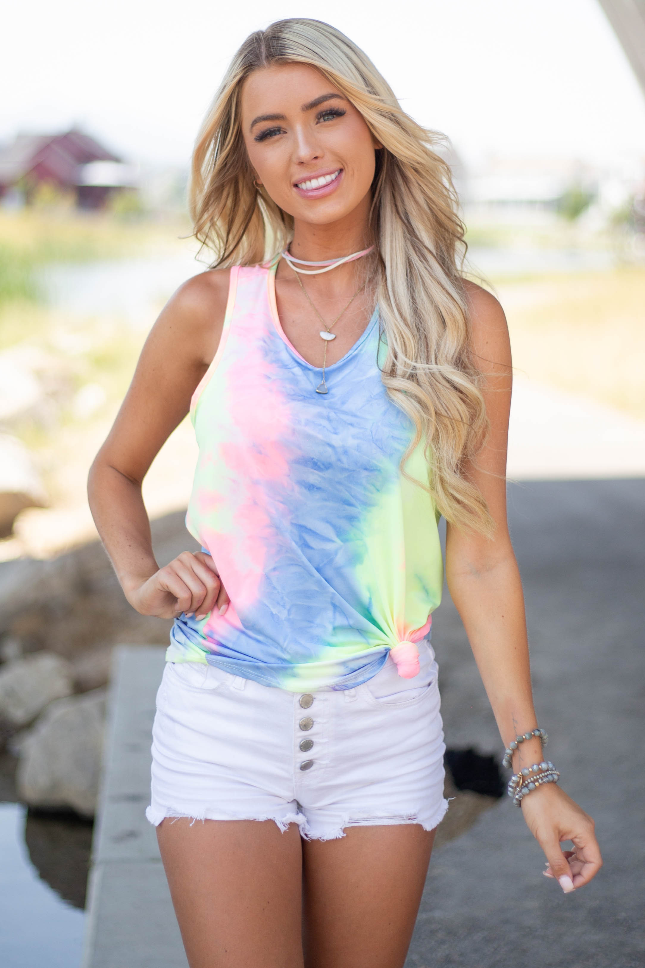 Neon Multicolor Tie Dye Tank Top with Twisted Back Detail