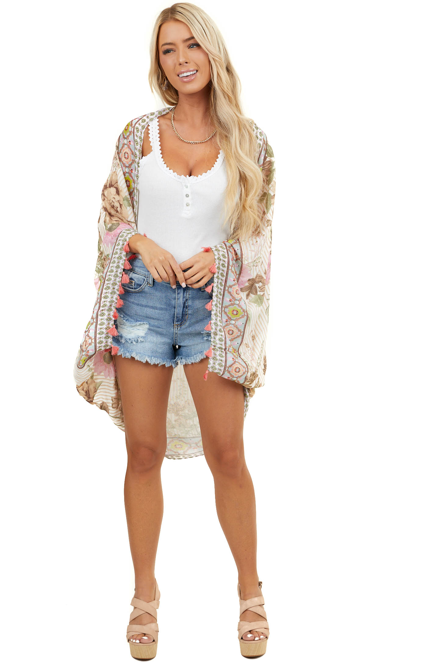 Ivory Floral Print Cocoon Style Kimono with Tassel Details