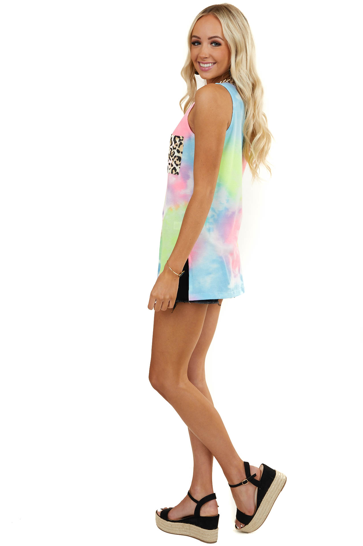 Multicolor Tie Dye Waffle Knit Top with Leopard Contrast