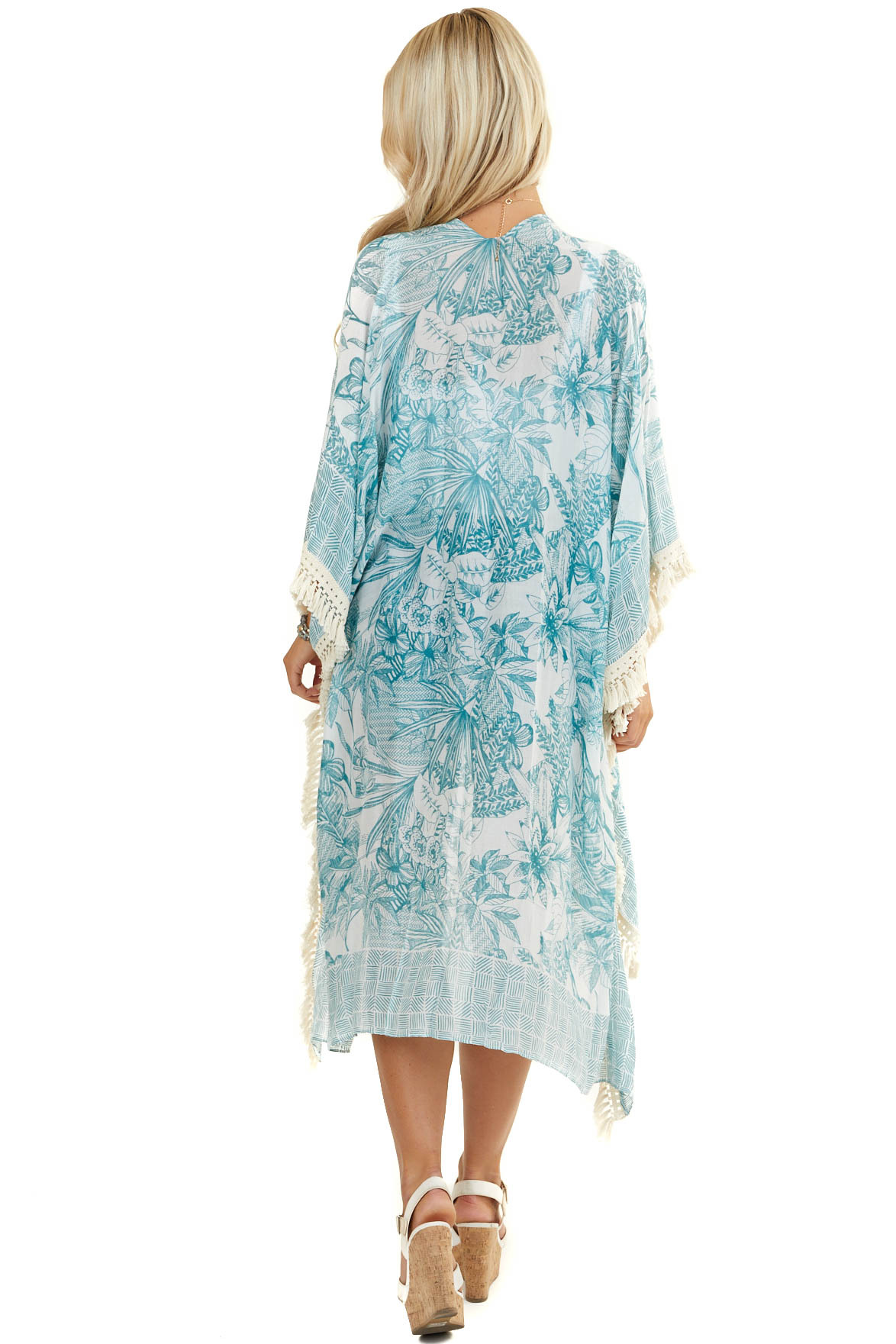 Teal and Sky Blue Floral Print Kimono with Tassel Details