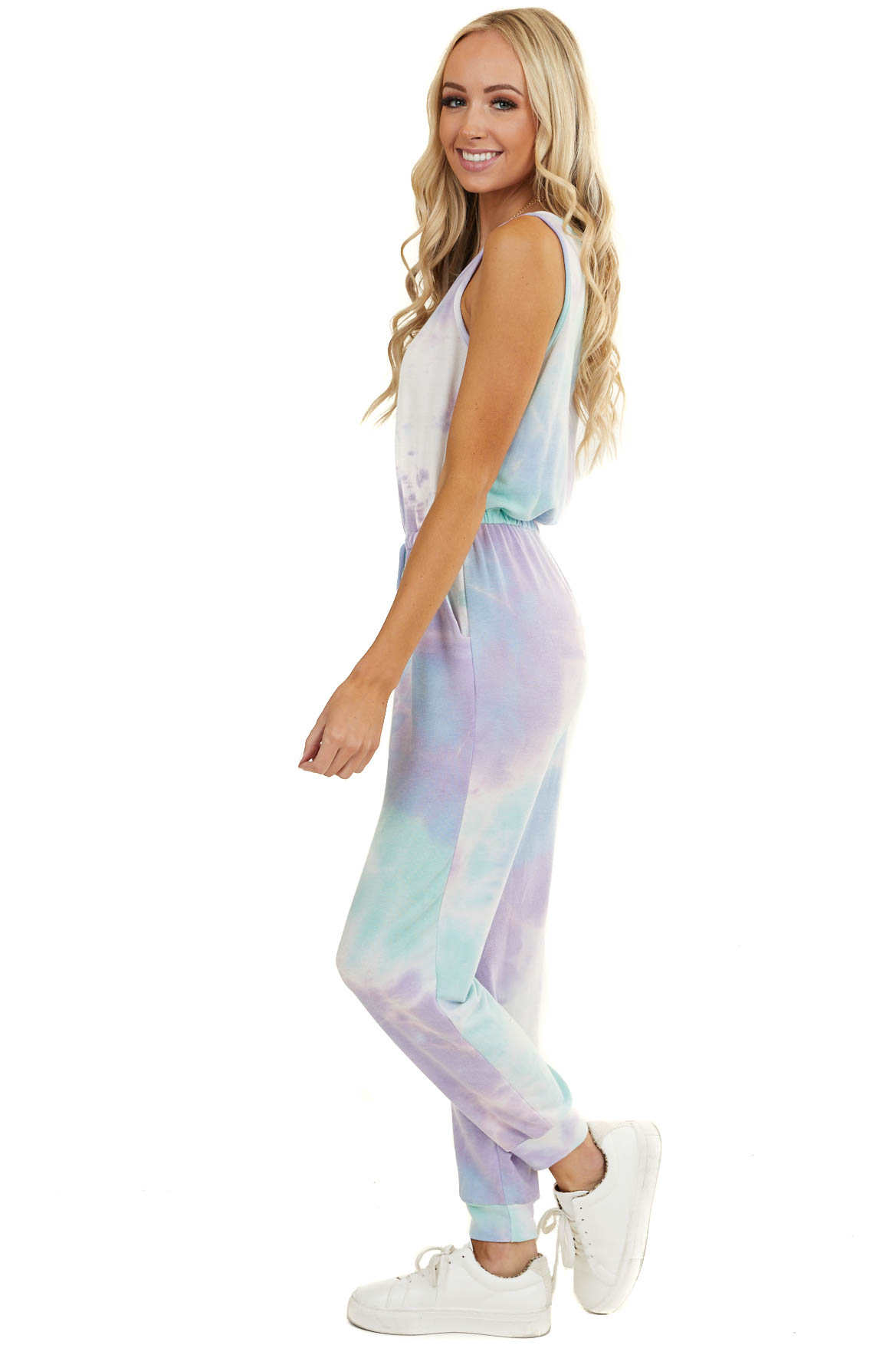 Mint and Lilac Tie Dye Sleeveless Jumpsuit with Pockets