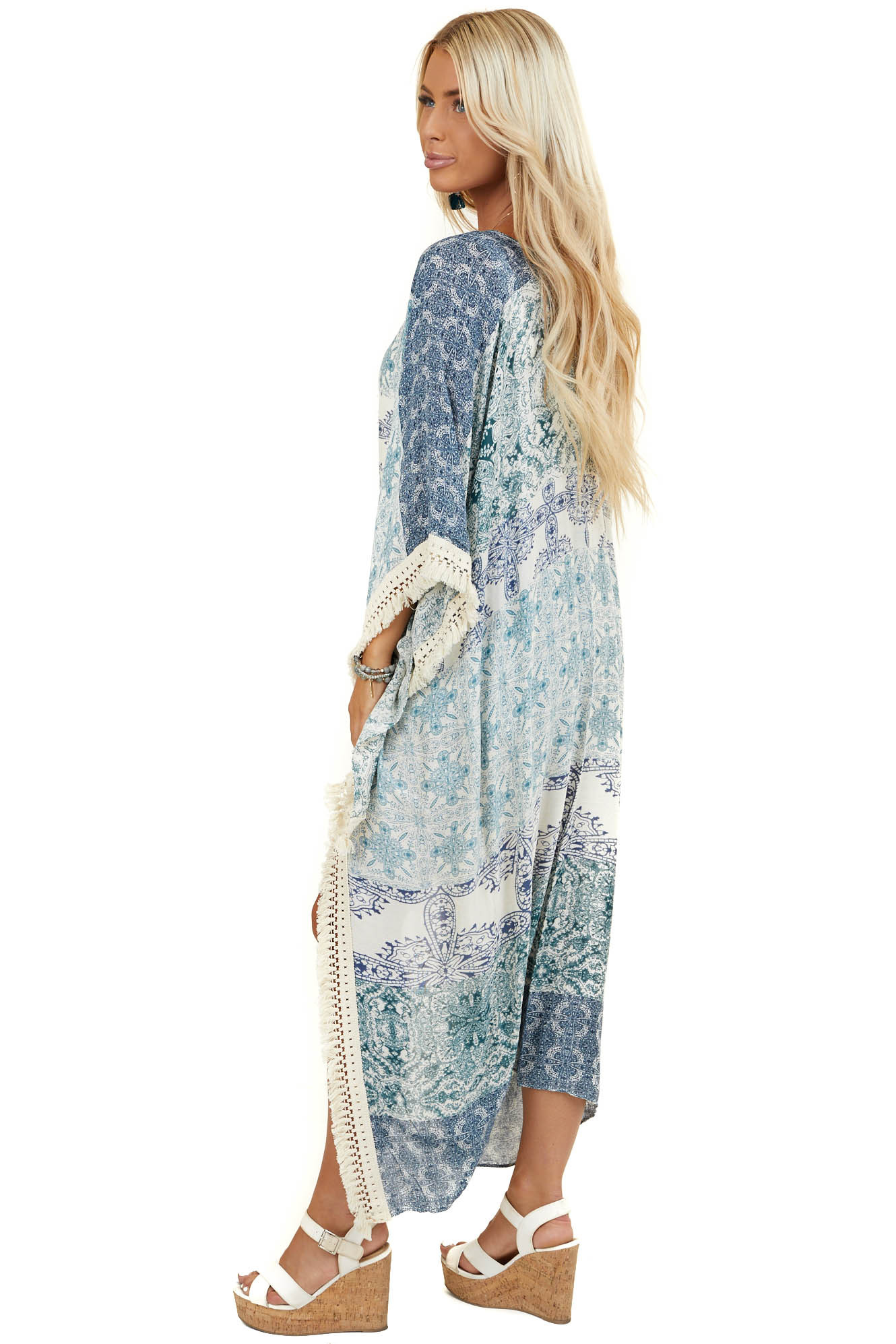Navy and Teal Printed Kimono with Cream Tassel Details