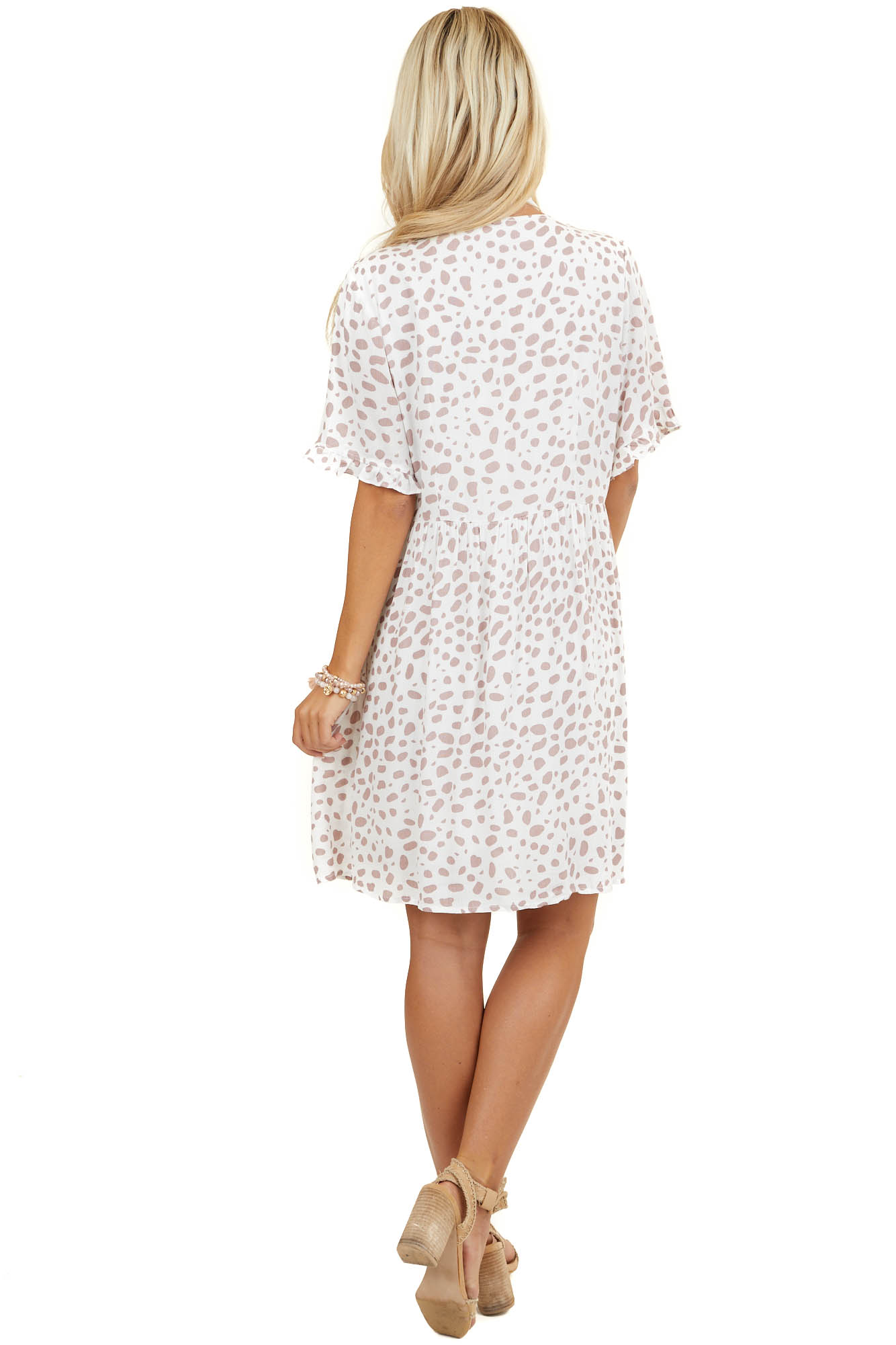 Ivory and Dusty Rose Cheetah Button Up Dress with Pockets