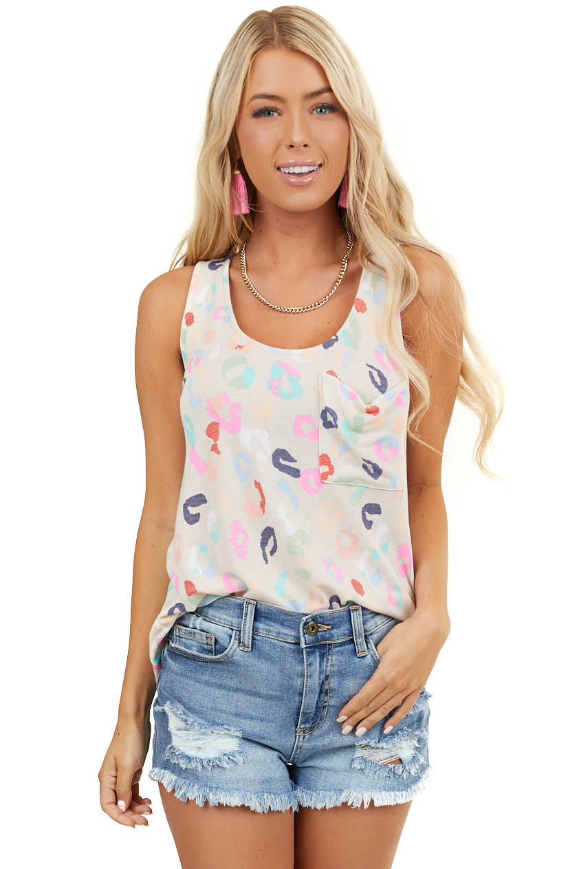 Khaki Tank Top with Multicolor Leopard Print and Pocket