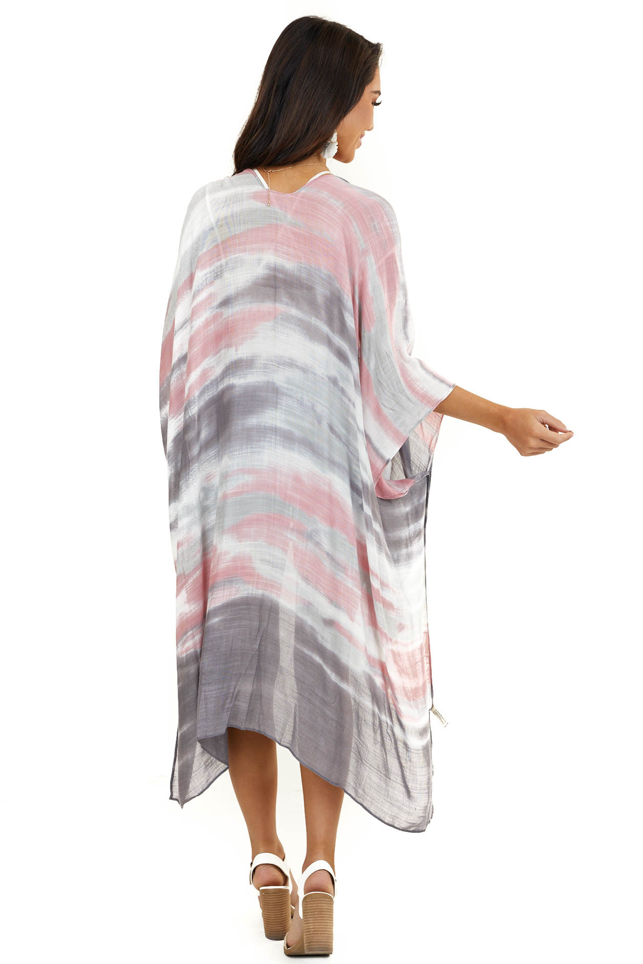 Charcoal and Baby Pink Ombre Kimono with Side Slits