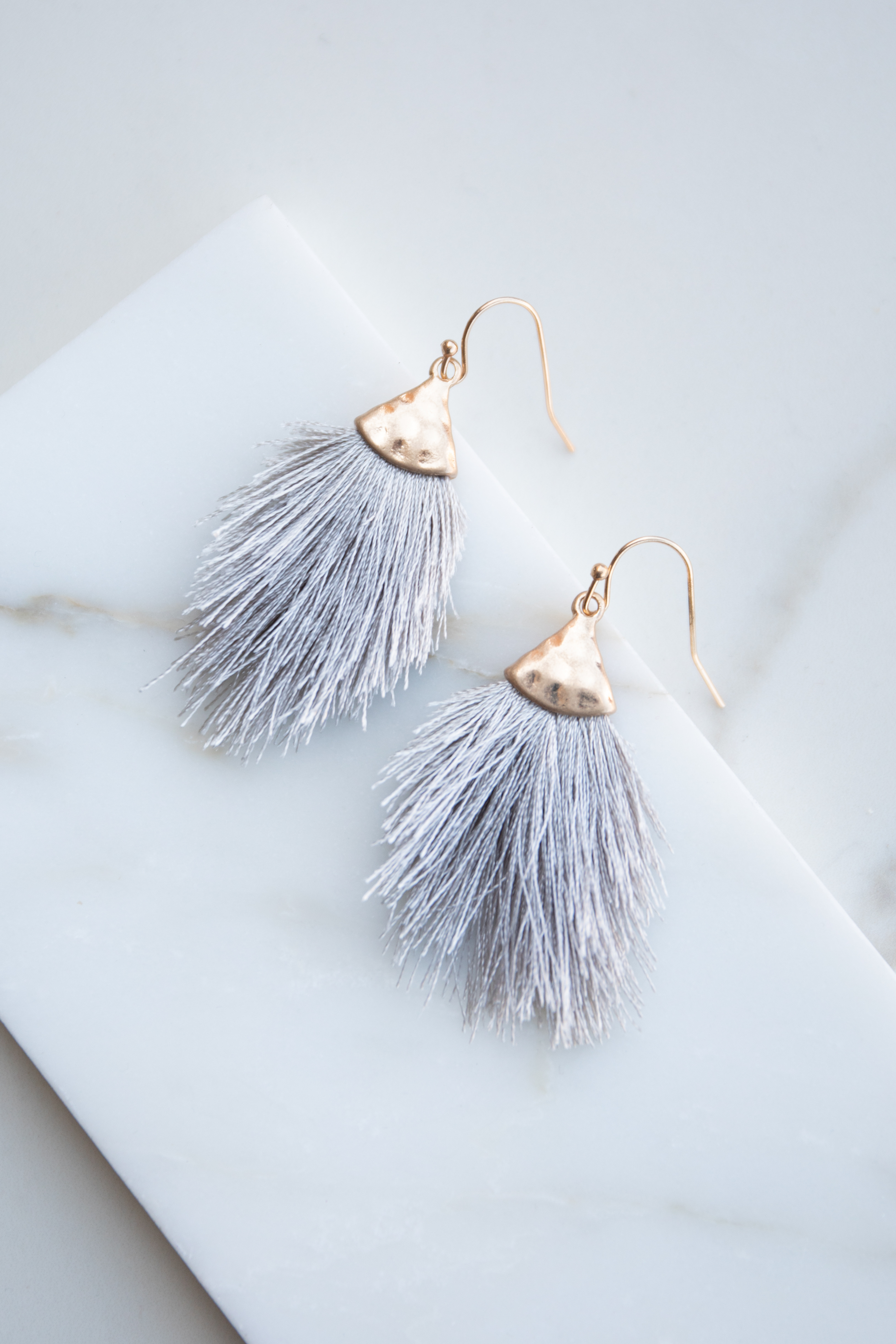 Dove Grey and Gold Hammered Tassel Drop Earrings